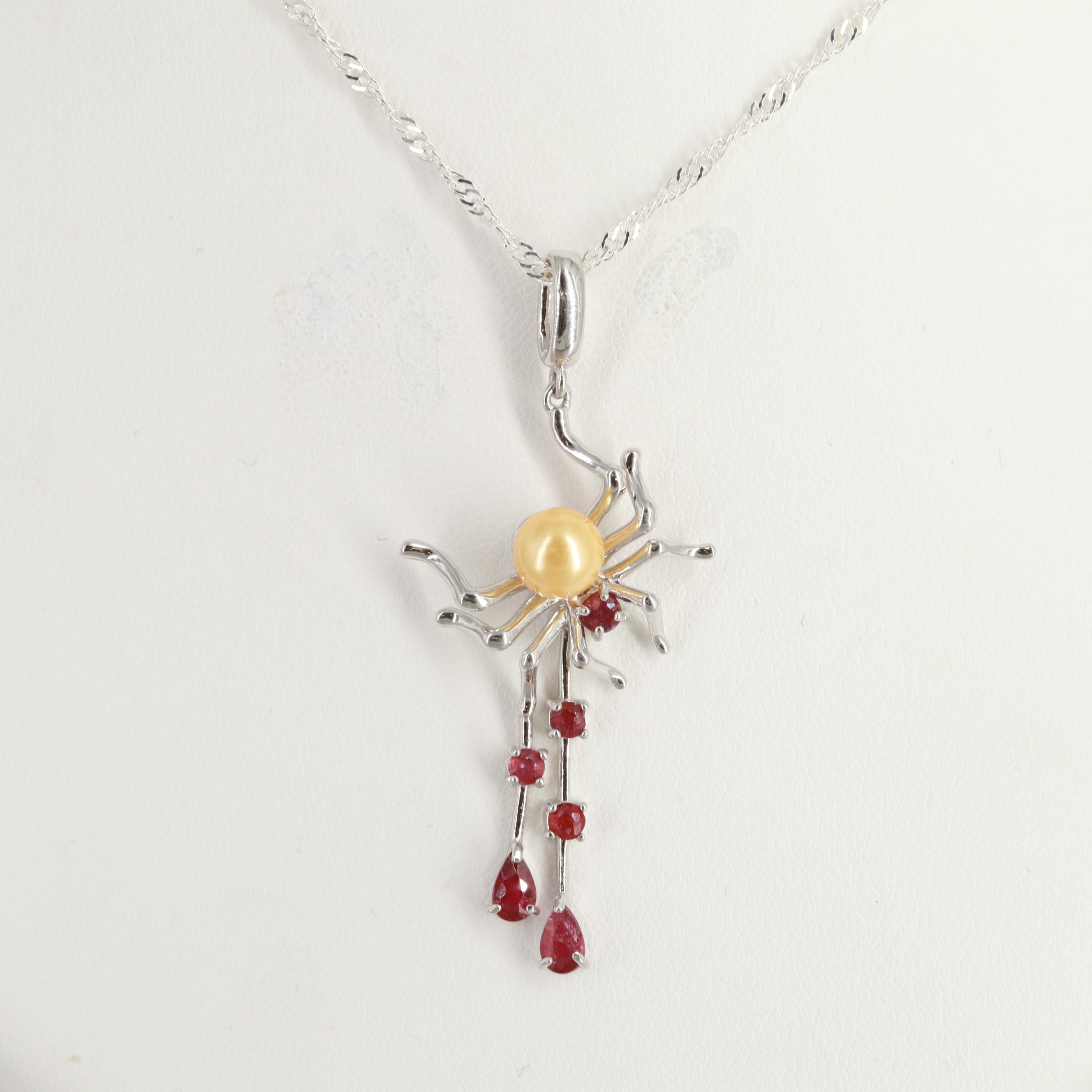 Sterling Silver Filled Corundum and Cultured Pearl Spider Pendant Necklace