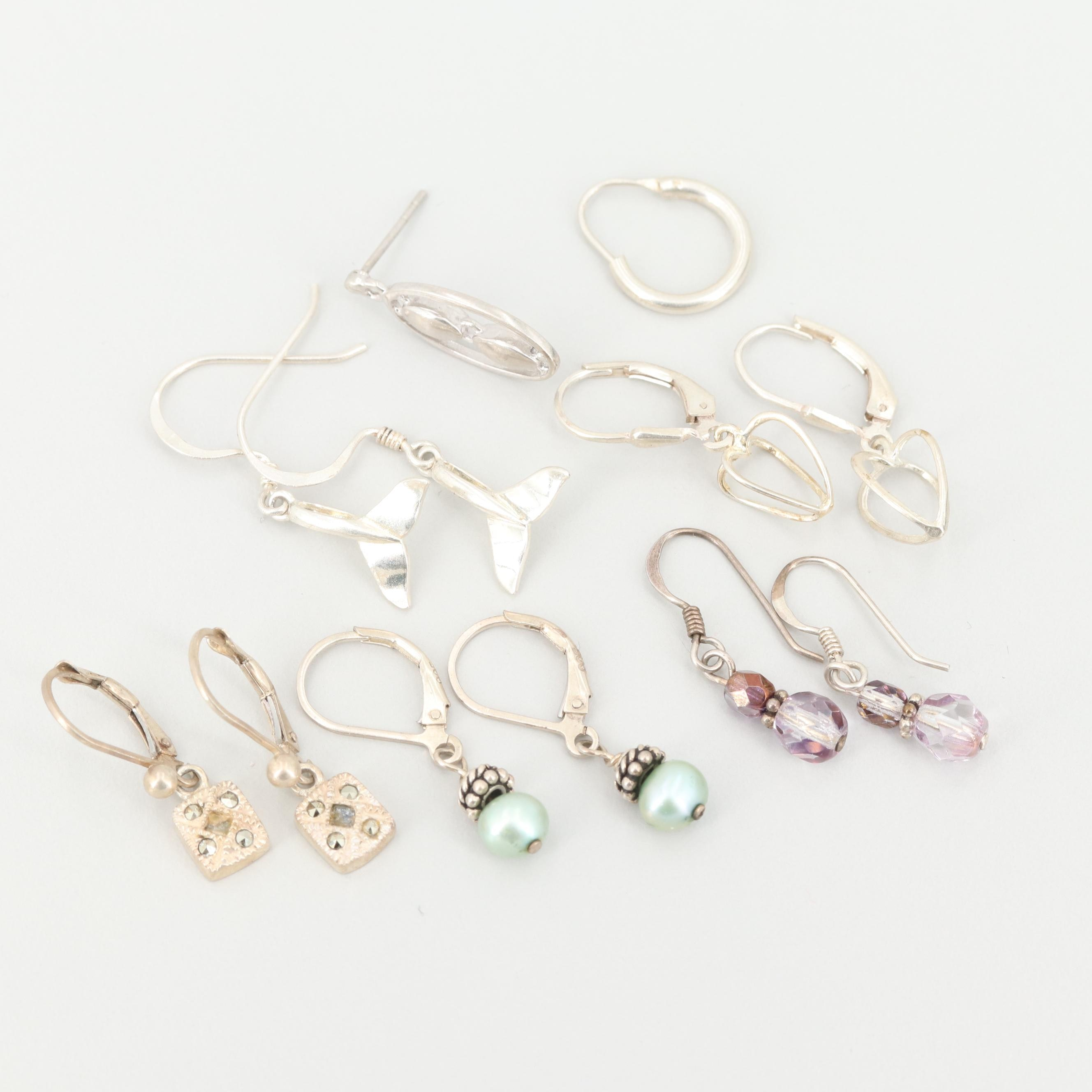 Assorted Sterling Silver Earrings Including Cultured Pearl and Marcasite