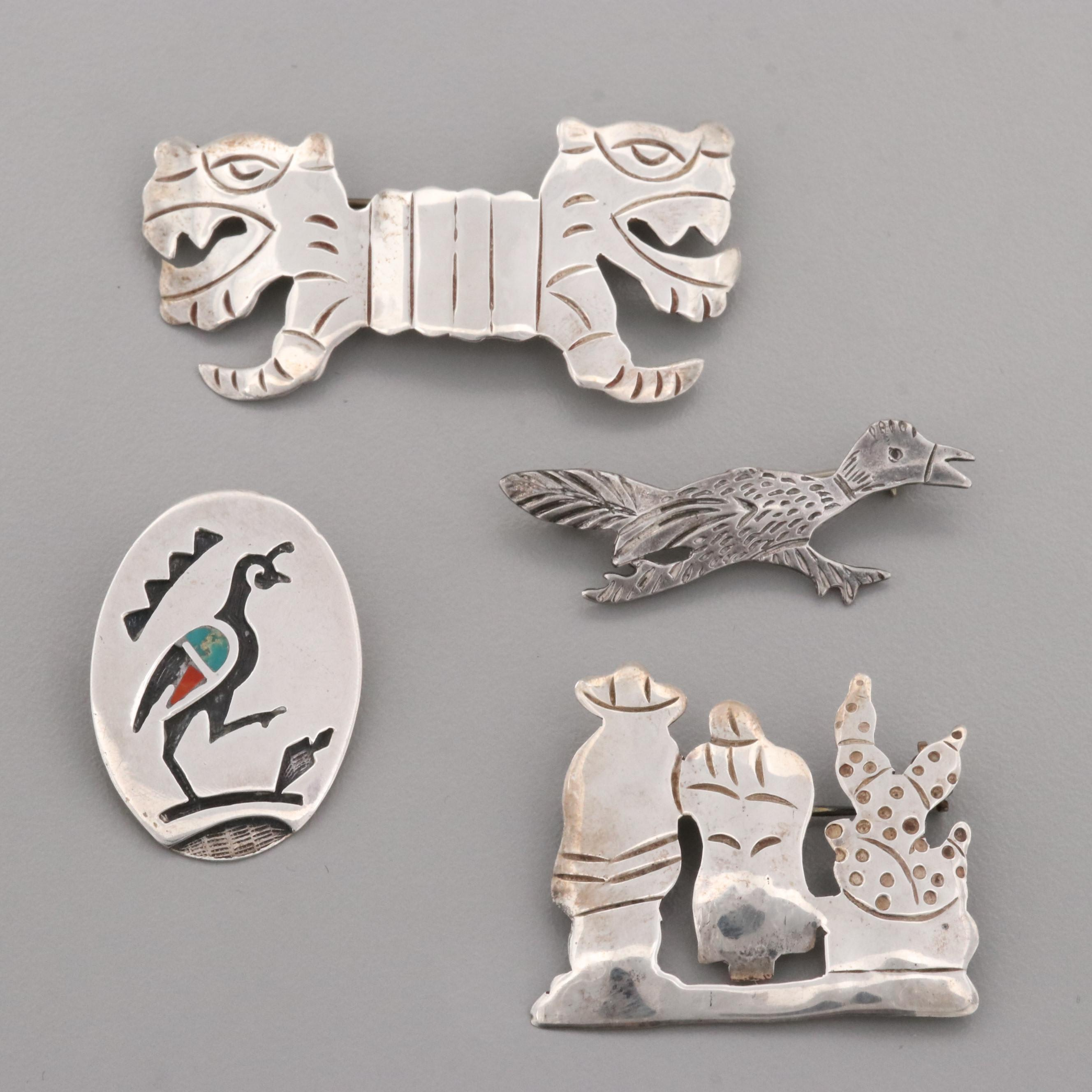 Taxco Sterling Silver Brooches with Turquoise and Coral Inlay