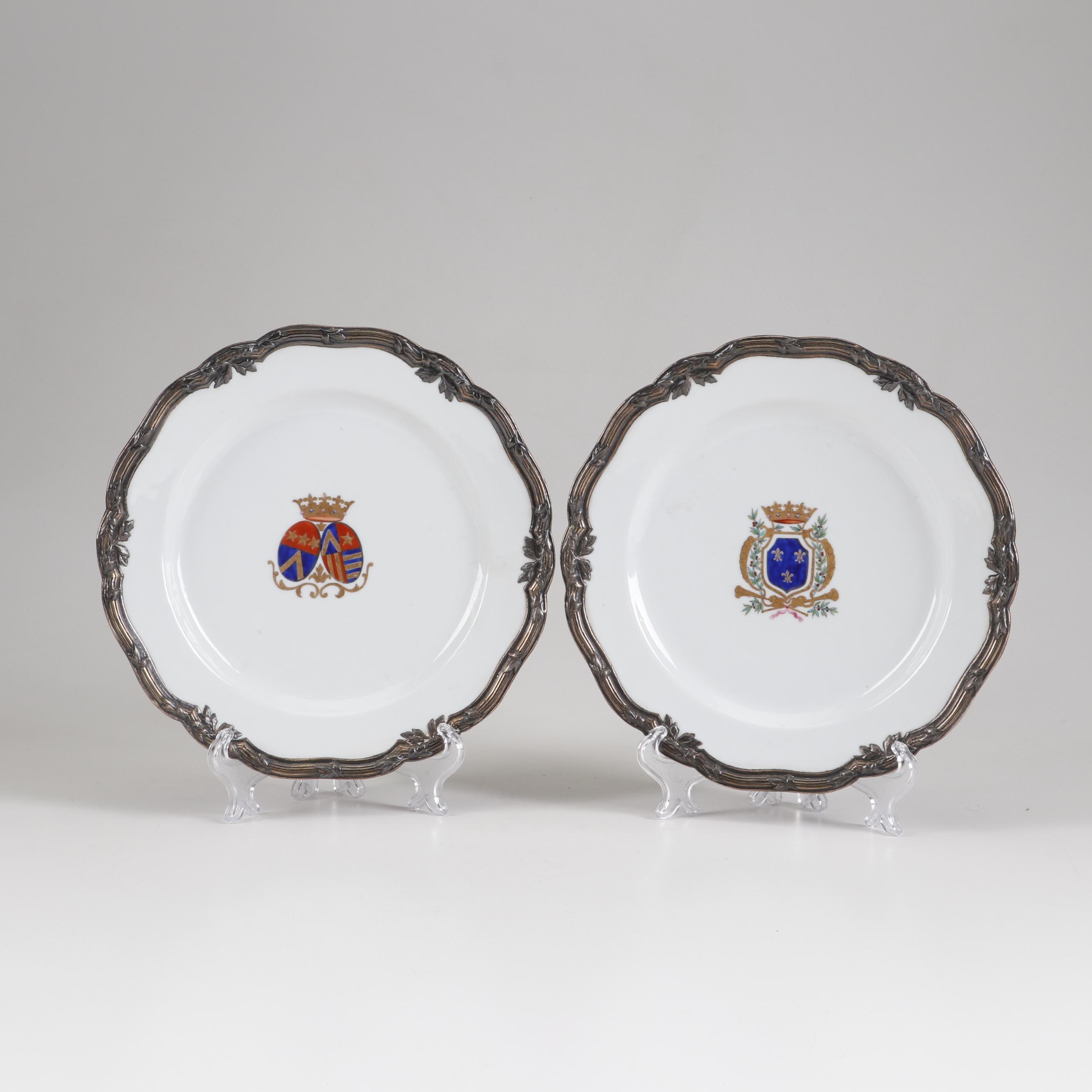 1780 Sevrés Hand-Painted Gilt Metal Mounted Porcelain Plates