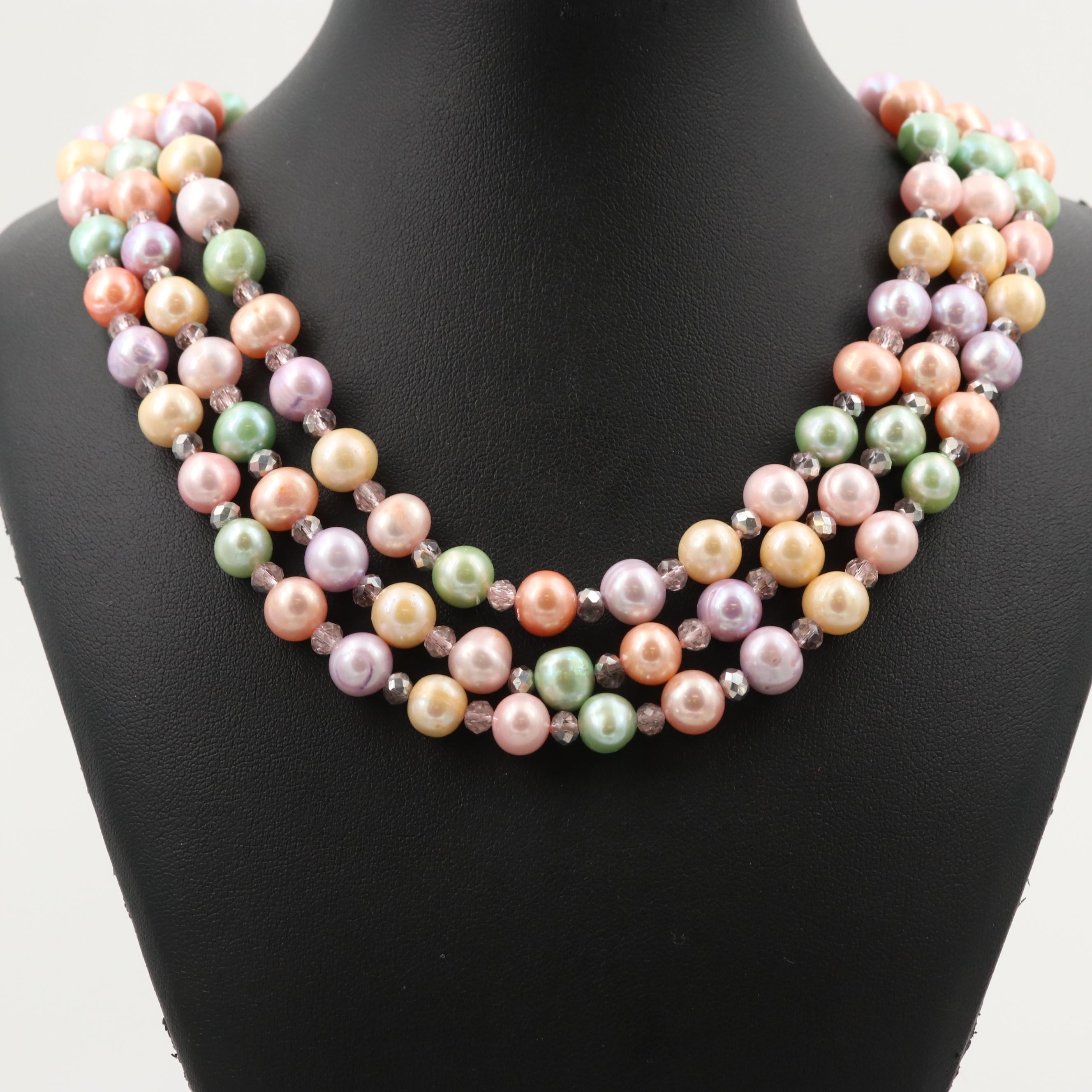Triple Strand Multi Colored Cultured Pearl Necklace and Sterling Silver Findings
