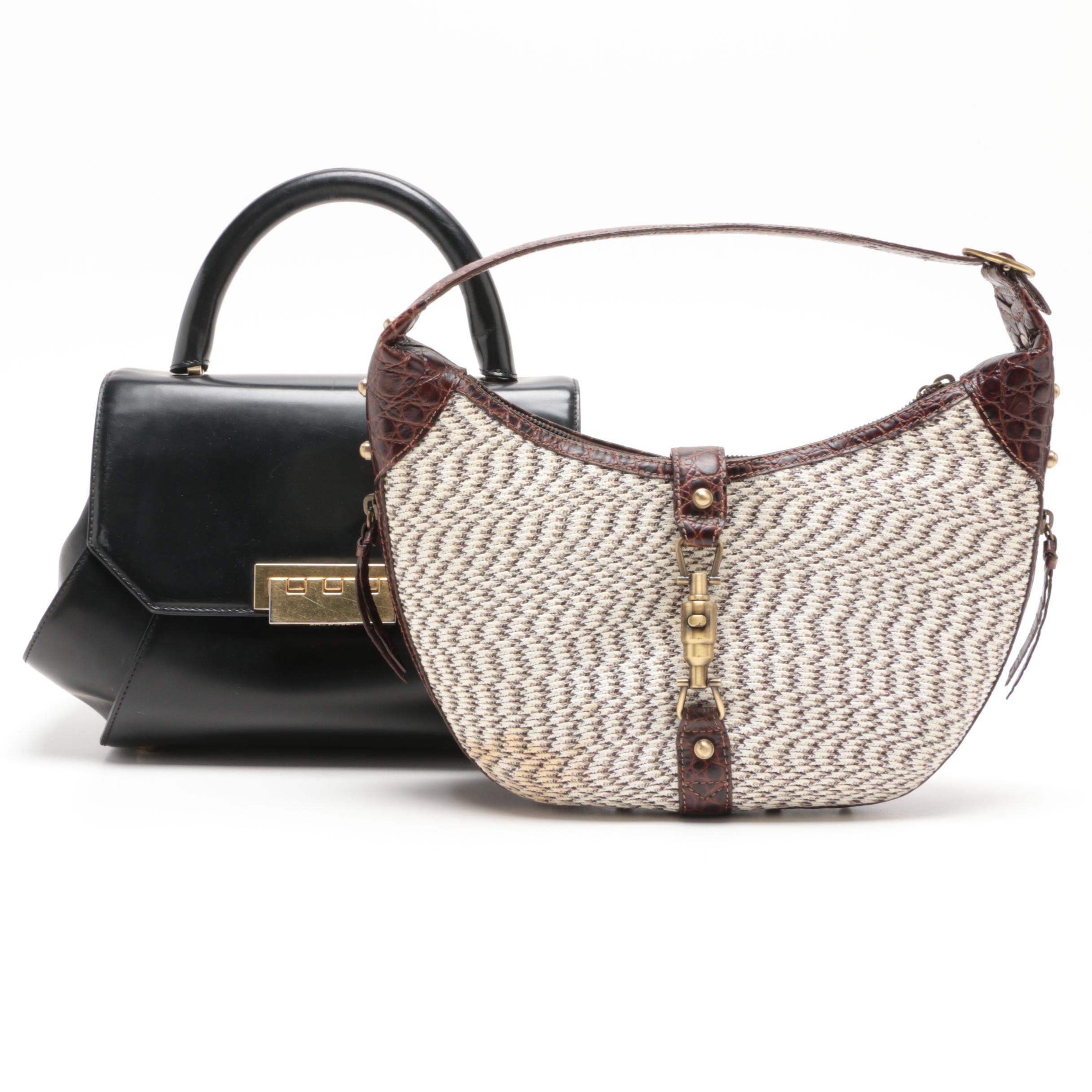 Zac by Zac Posen Black Leather Satchel and Eric Javits Woven Shoulder Bag