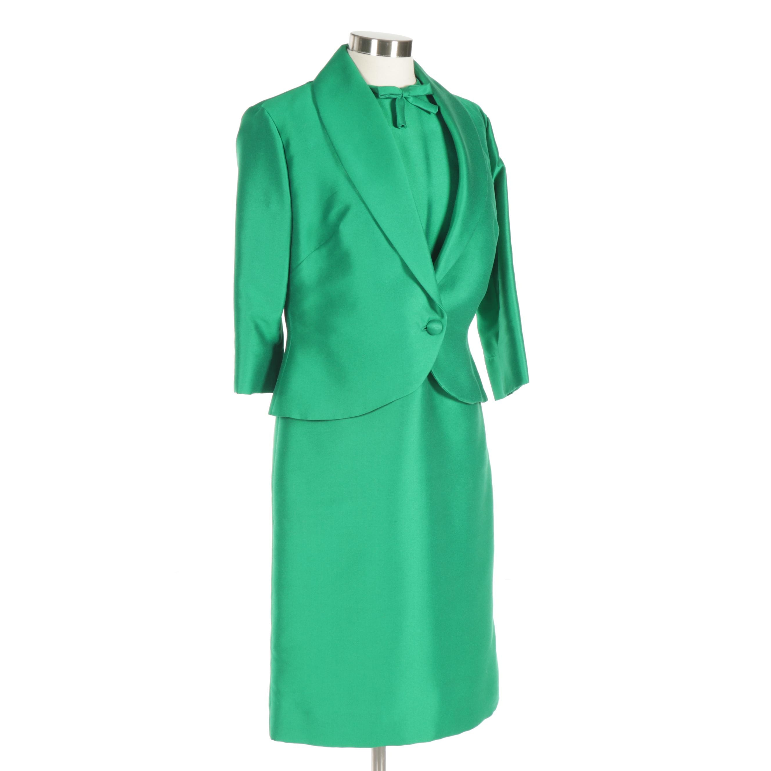 Women's Emerald Green Silk Jacket and Dress, 1960s Vintage