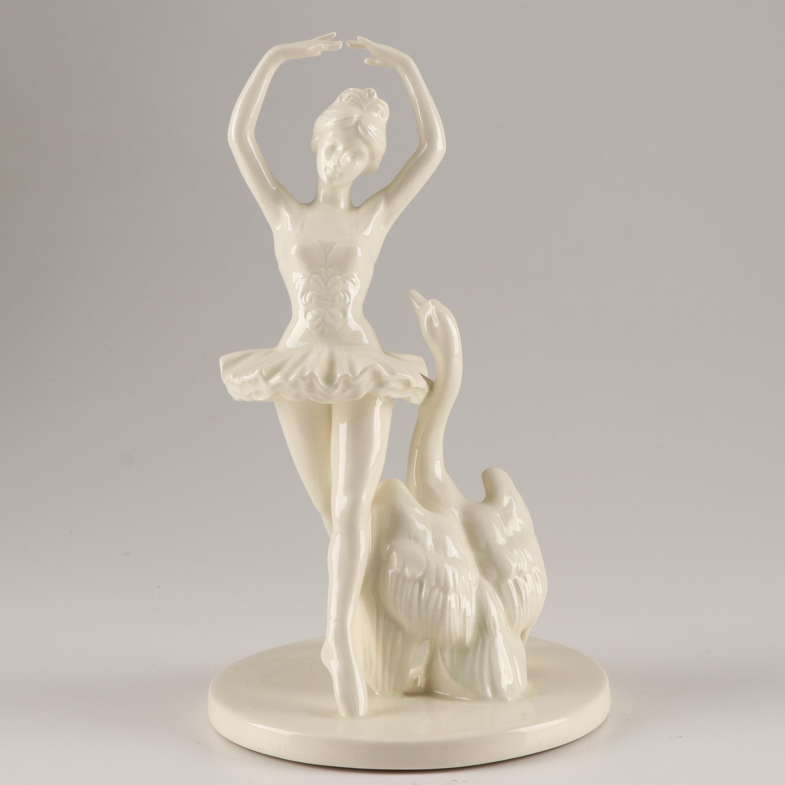 Goebel W. Germany Porcelain Ballerina and Swan Figurine, Mid-Century