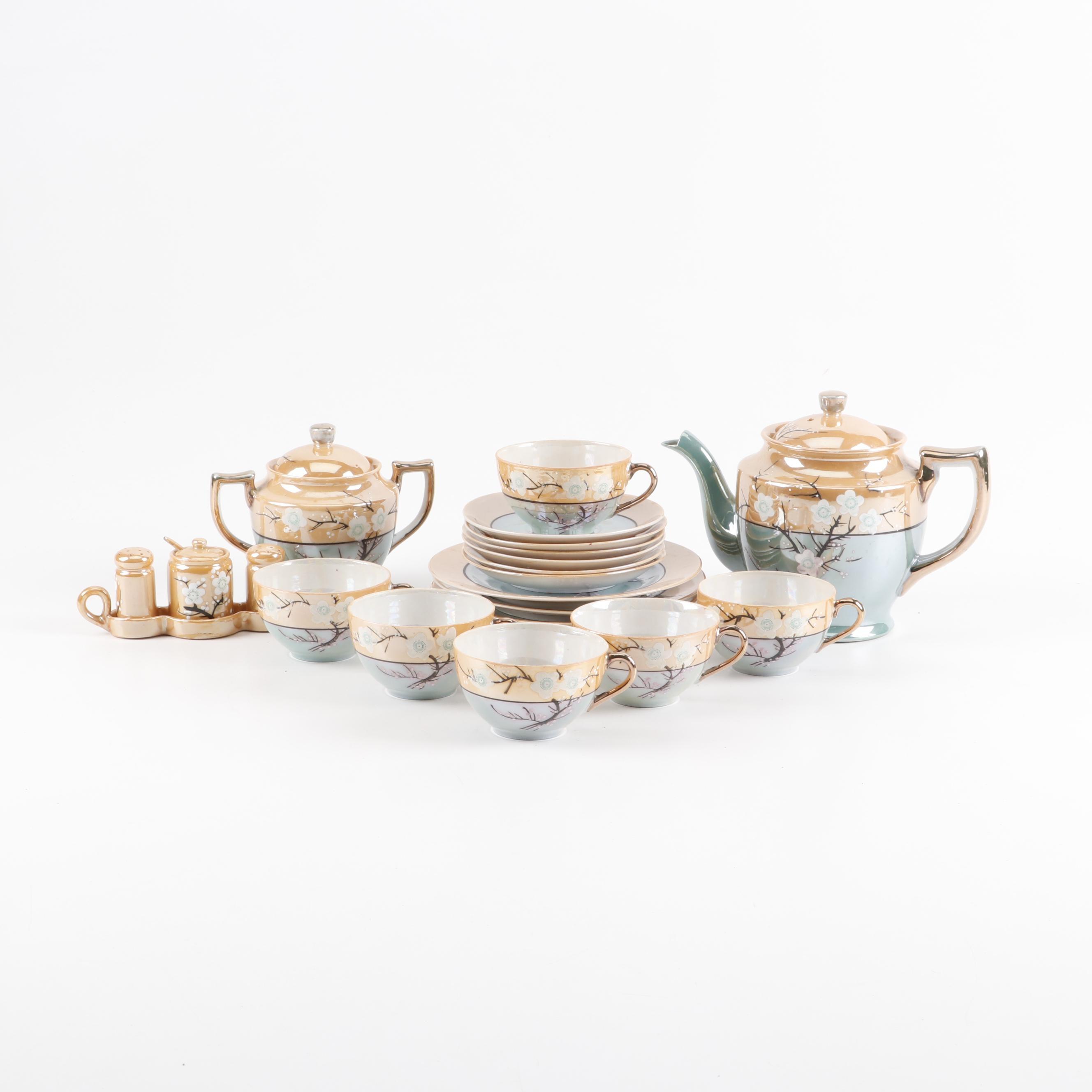 Japanese Ceramic Lusterware Tea Set and Serveware, Mid 20th Century
