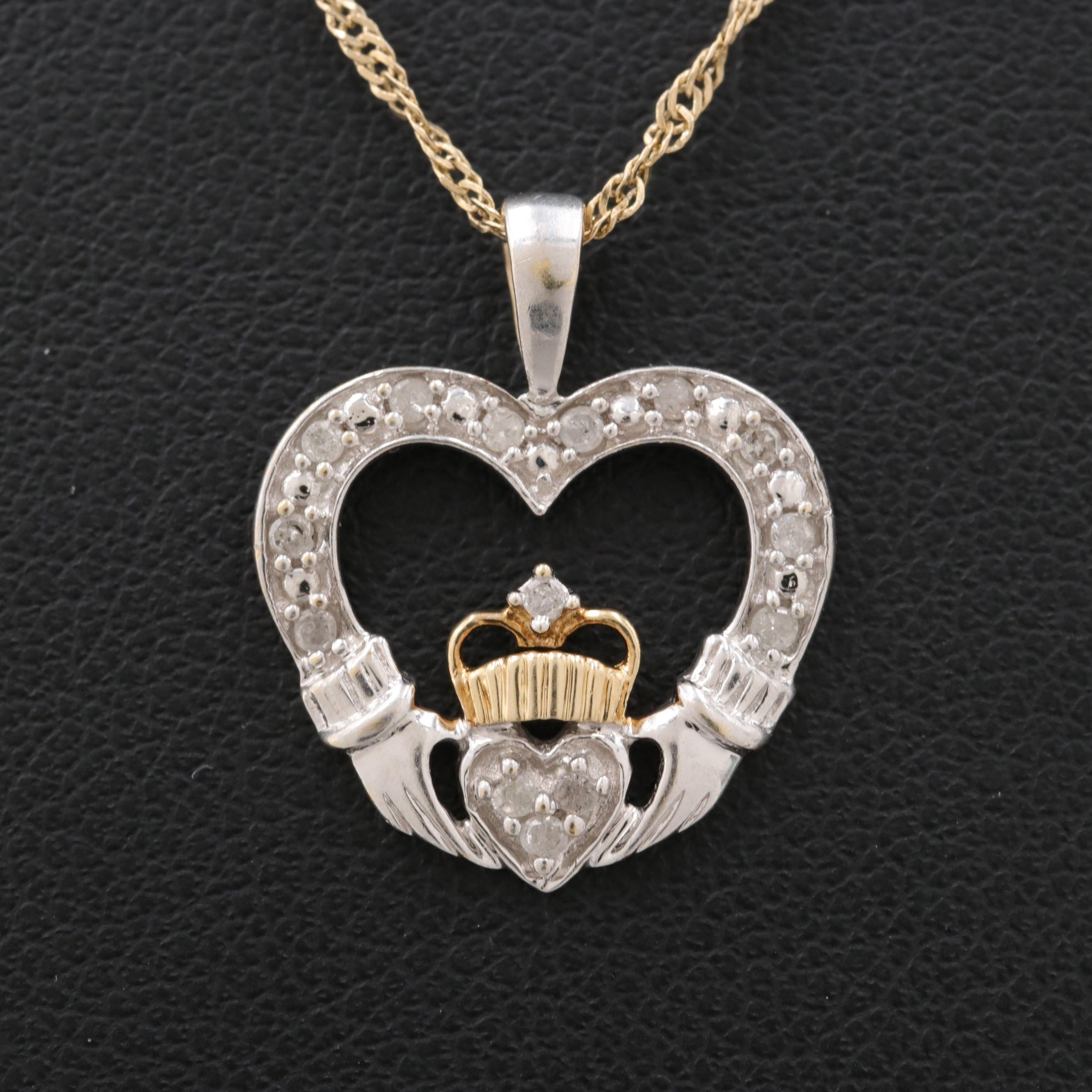 14K Yellow and White Gold Diamond Claddagh Necklace
