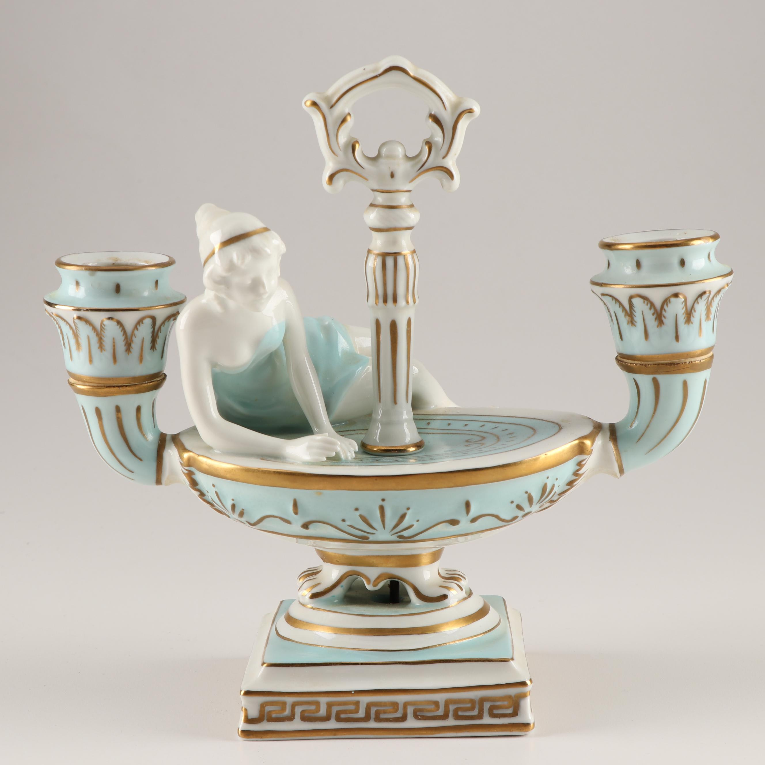 Continental Porcelain Figural Double Light Candlestick, 19th Century