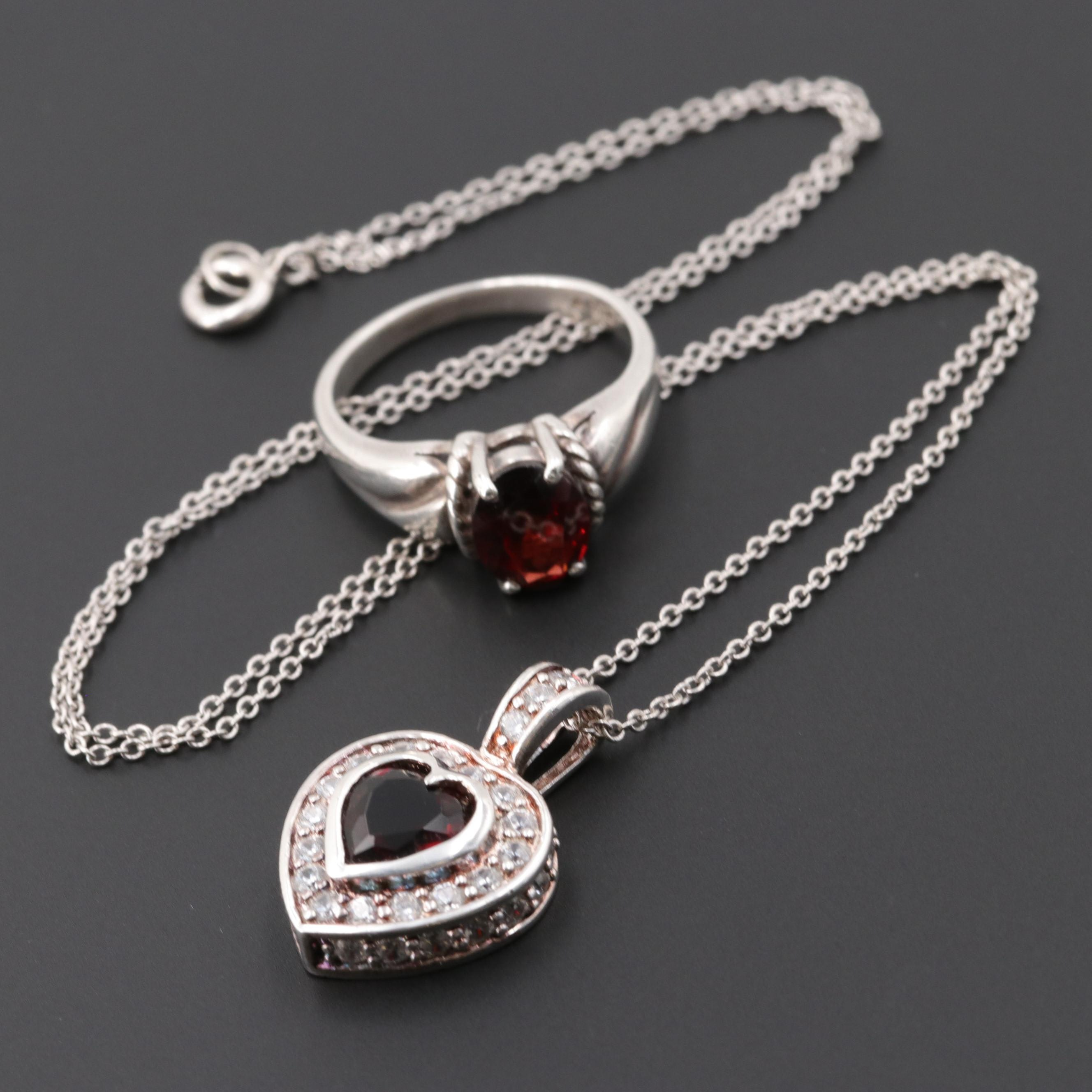 Sterling Silver Garnet and Cubic Zirconia Ring and Necklace
