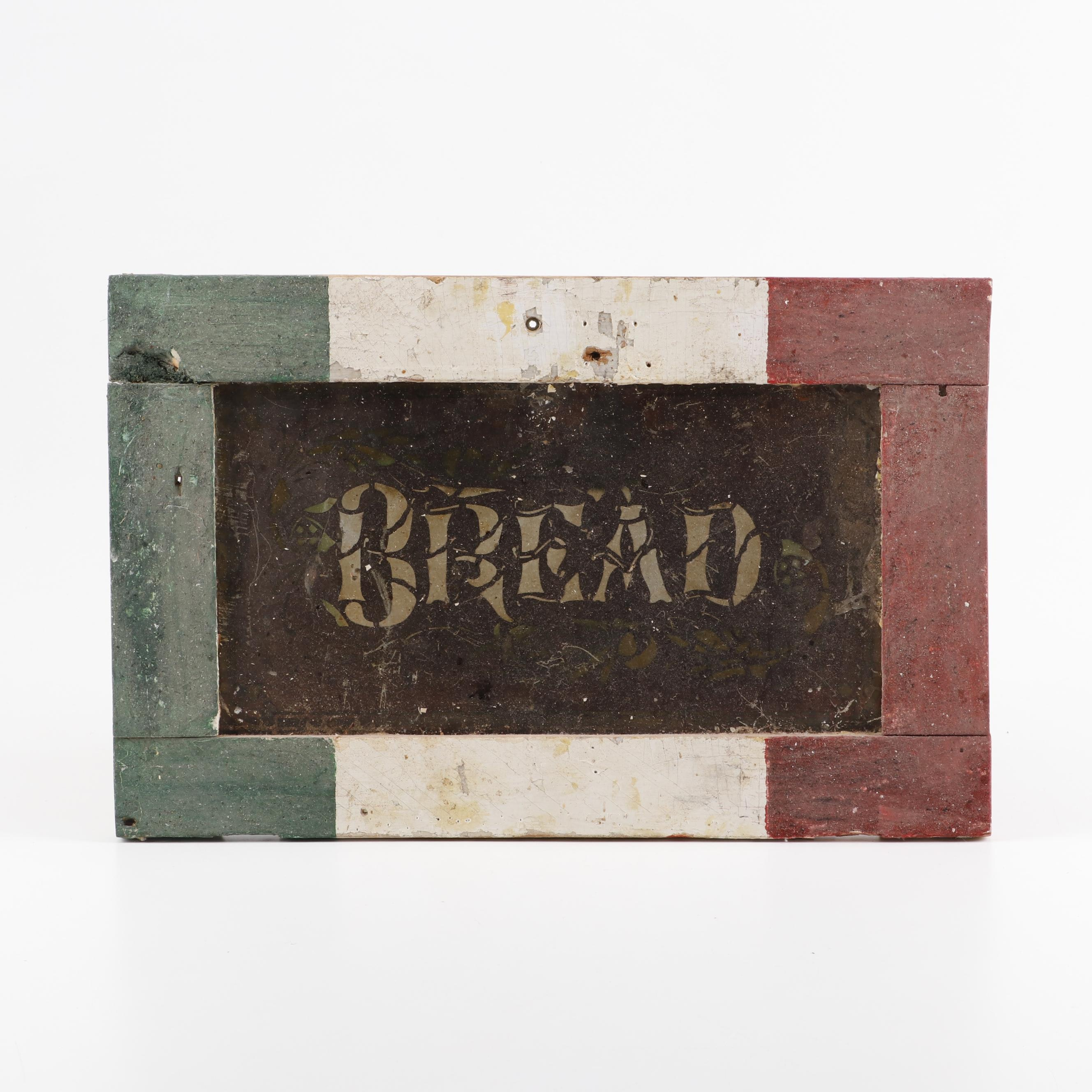 """Painted Metal and Wood """"Bread"""" Sign"""