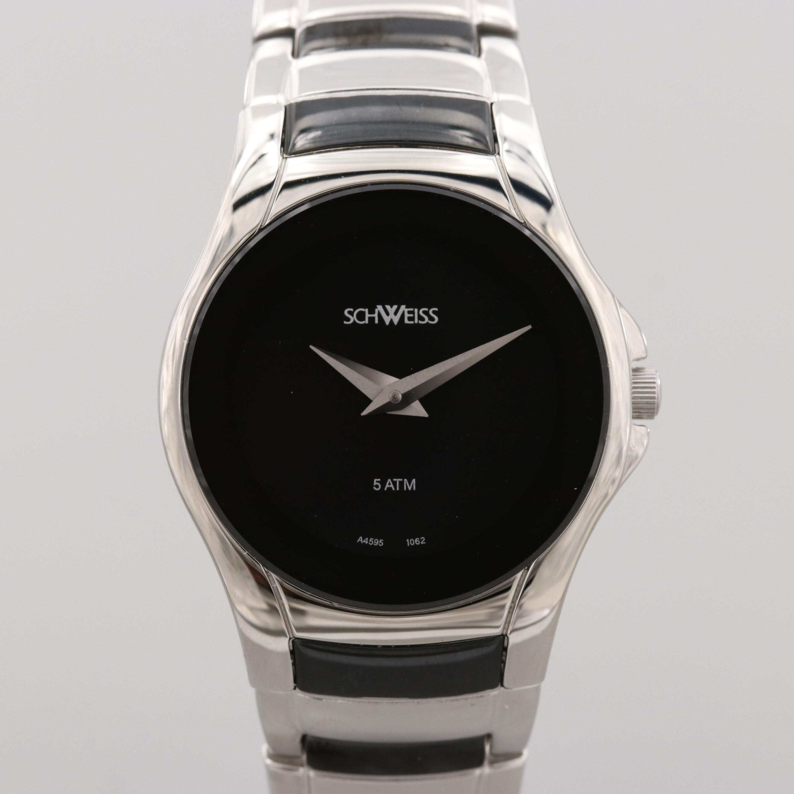 Schweiss Swiss Stainless Steel Quartz Wristwatch With a Black Dial