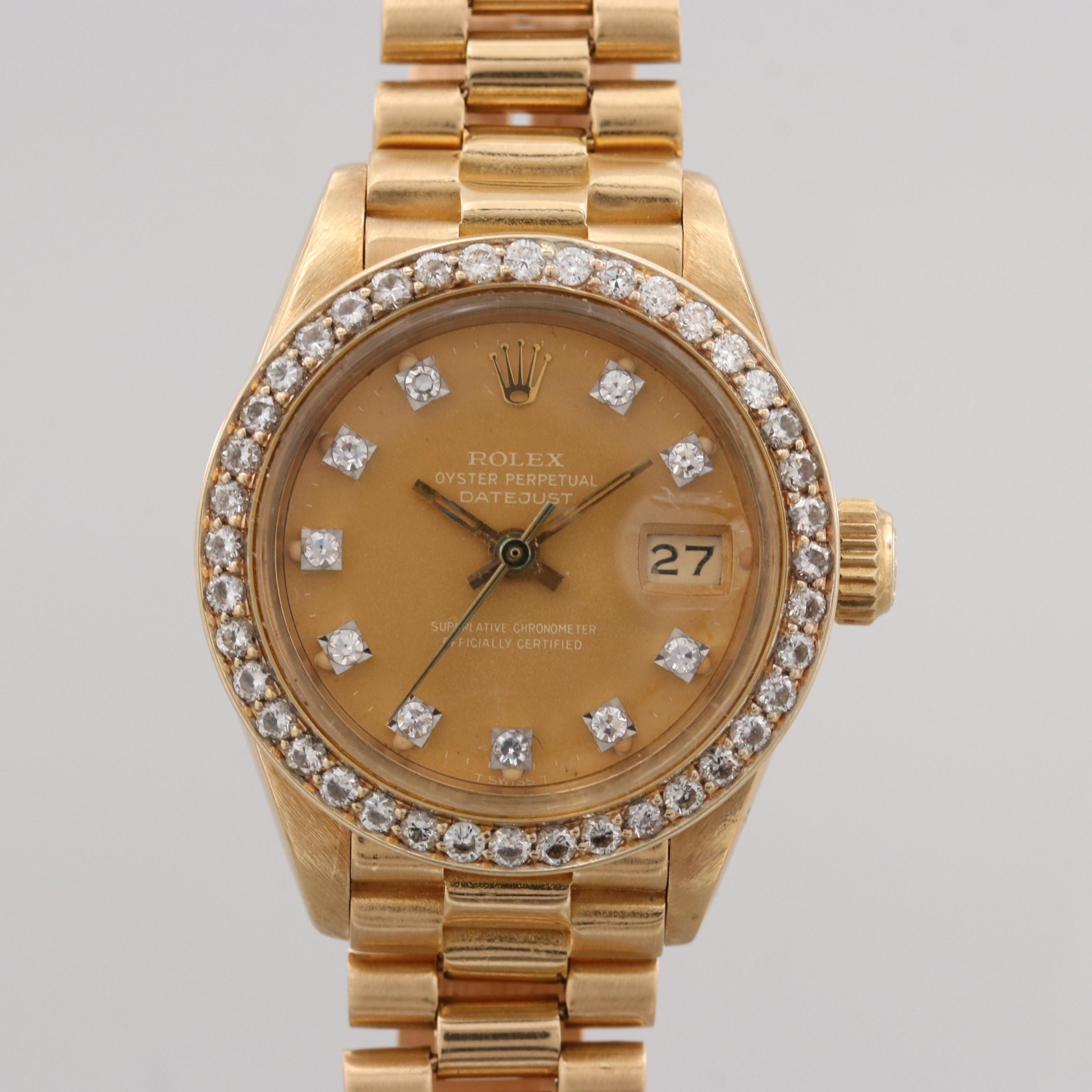 Vintage Rolex Datejust 18K Gold and Diamond Automatic Wristwatch, 1983