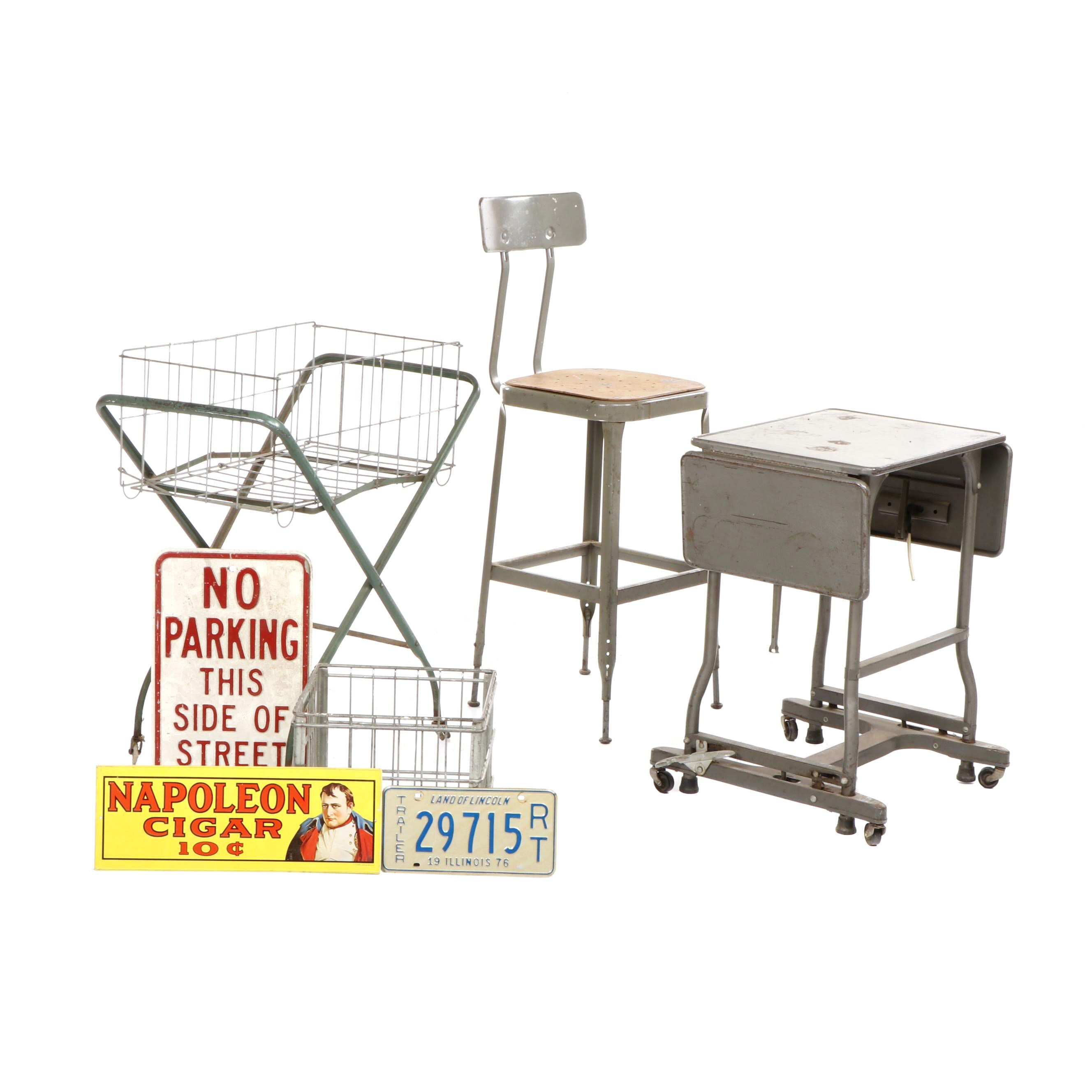 Mid Century Lyon Industrial Metal Stool with Milk Crate, Laundry Cart and More