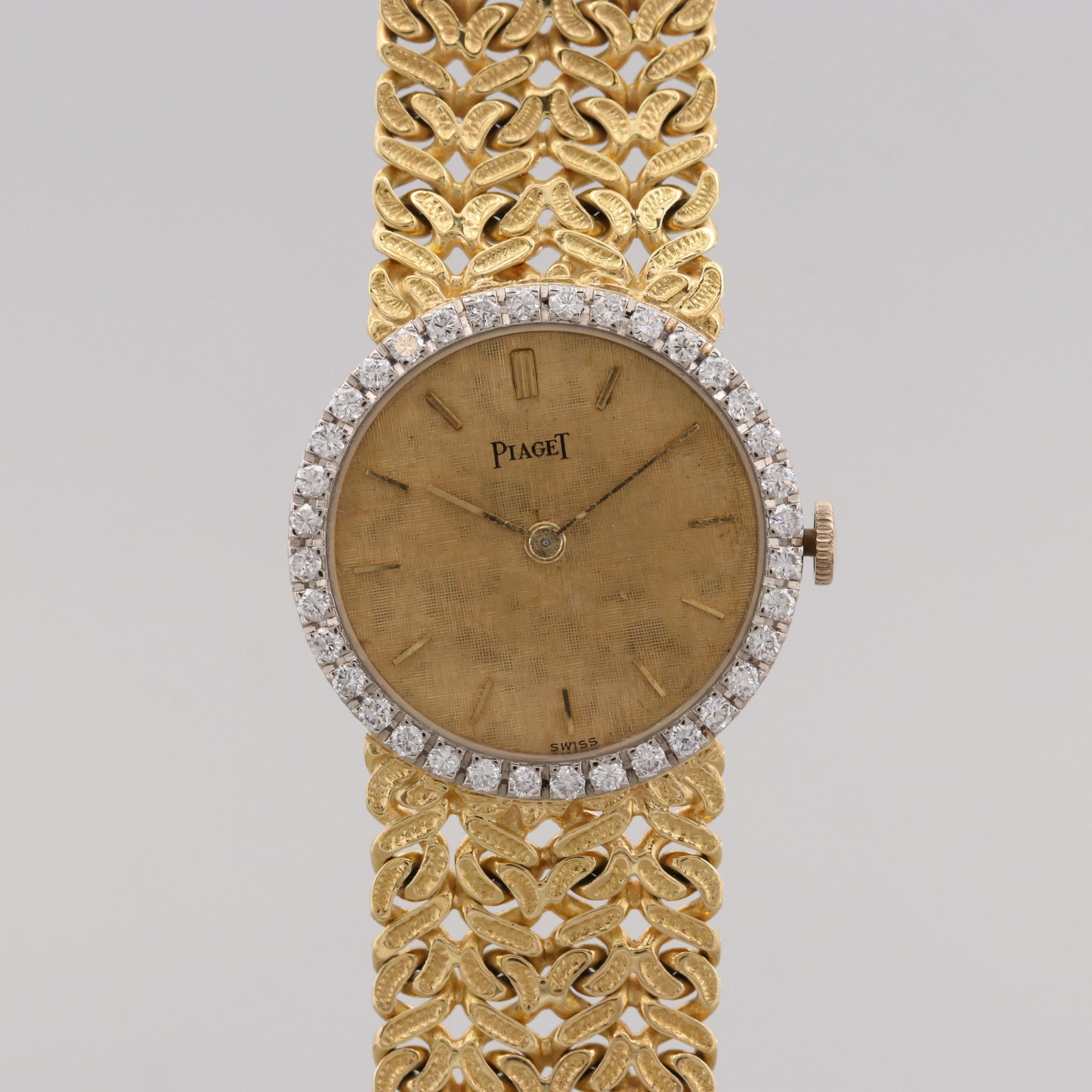 Piaget 18K Yellow Gold and Diamond Bezel Stem Wind Wristwatch