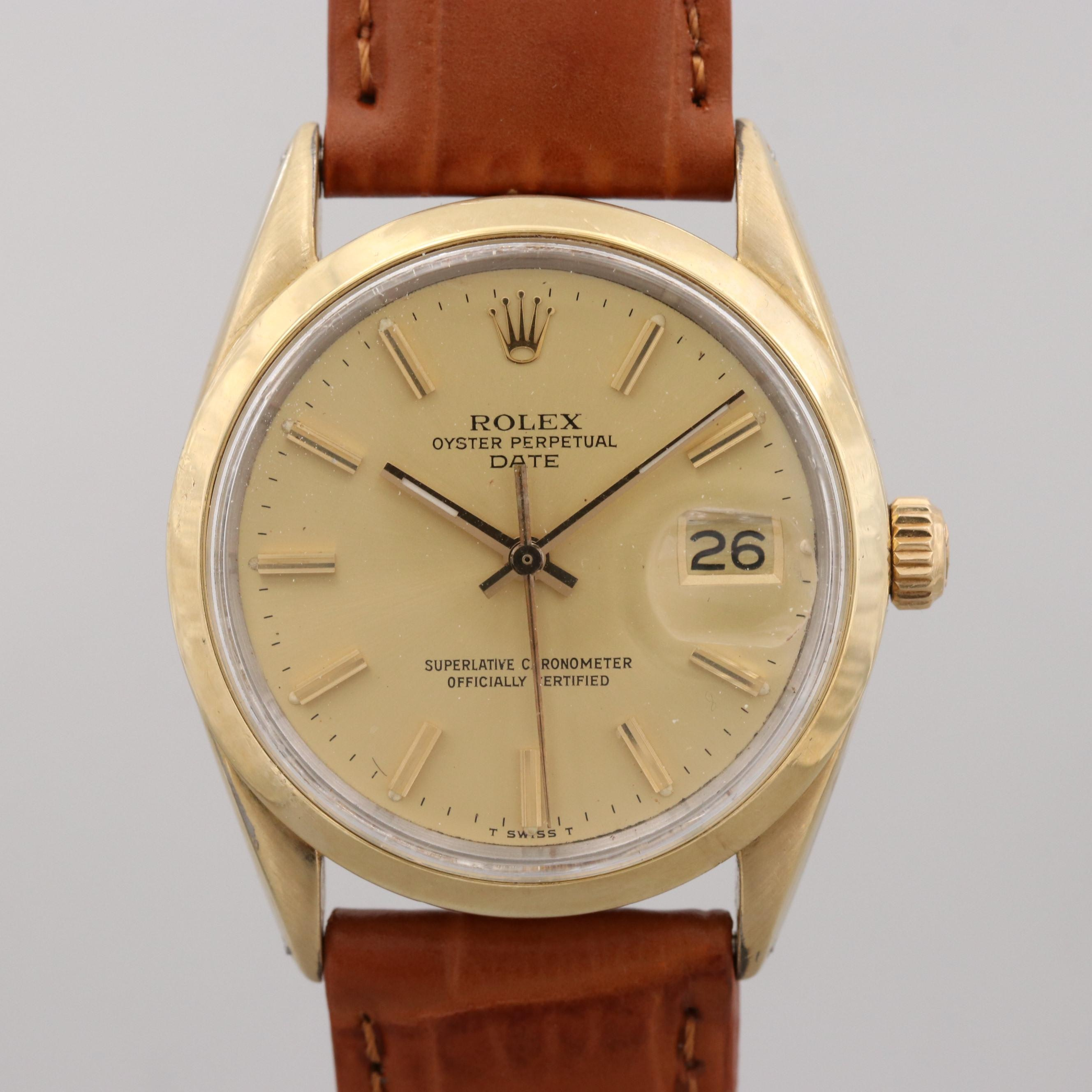 Vintage Rolex Date Gold Shell Wristwatch, 1978