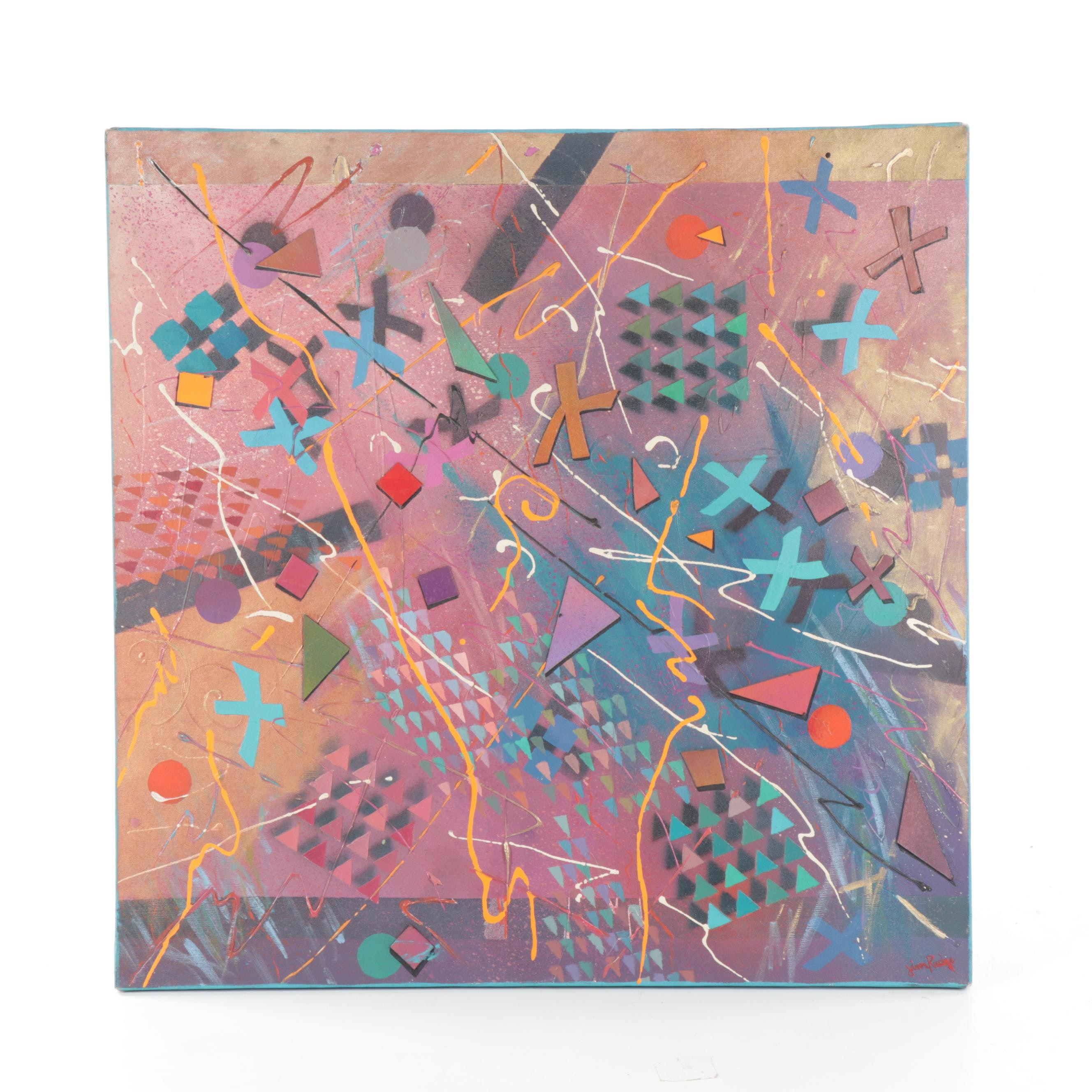 Late 20th Century Abstract Mixed Media Painting