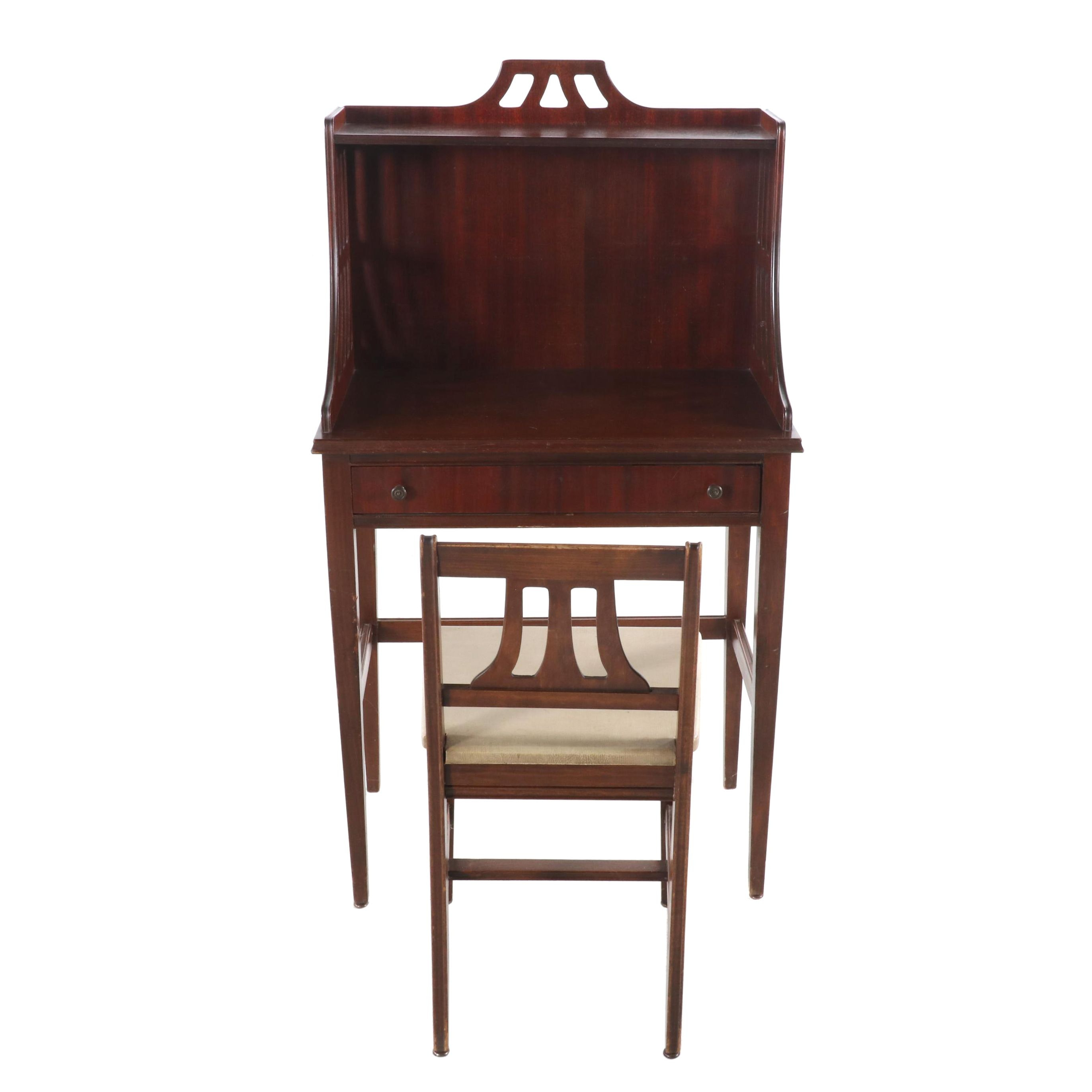 Federal Style Mahogany Writing Desk with Chair, Mid 20th Century