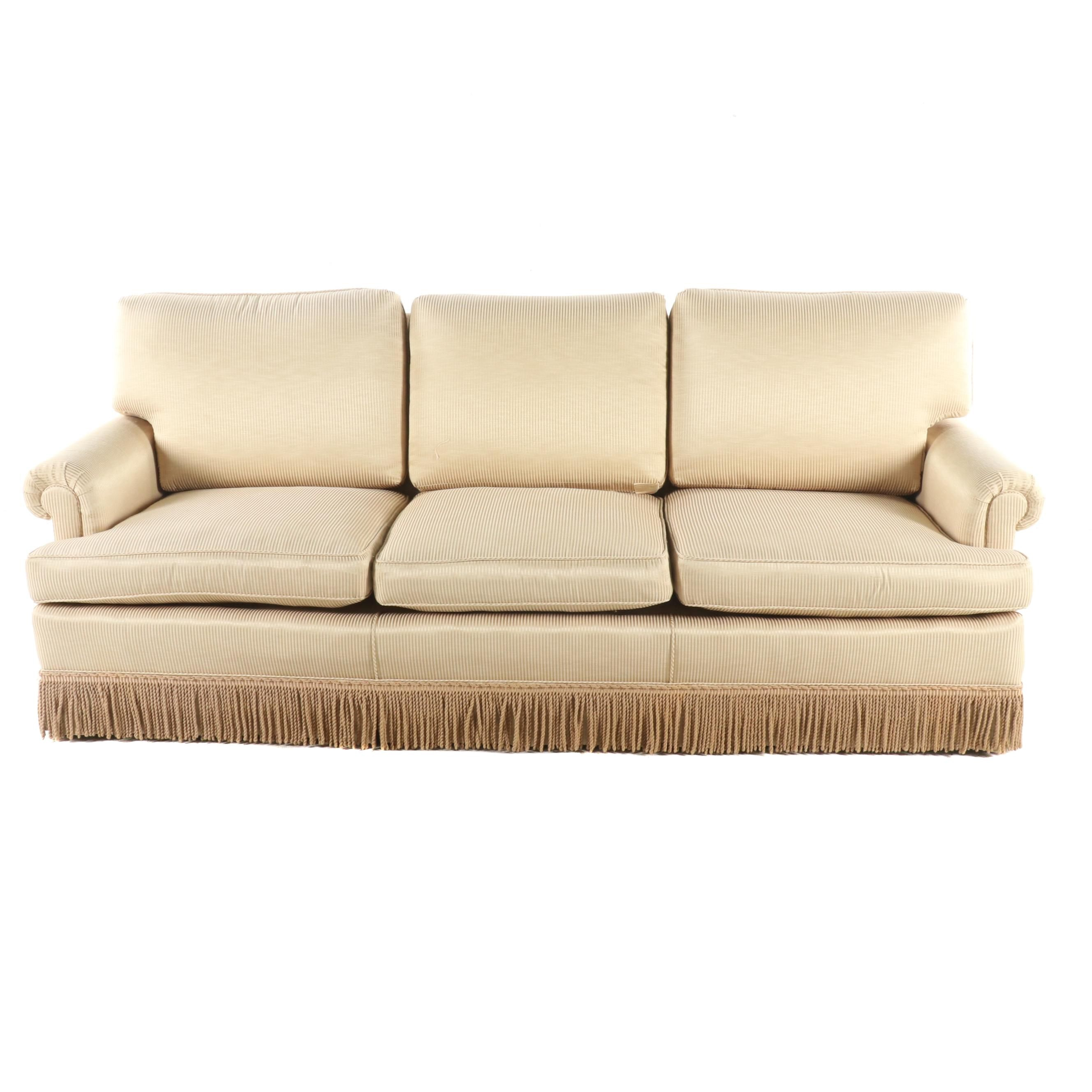 Contemporary Light Gold Pinstripe Upholstered Sofa