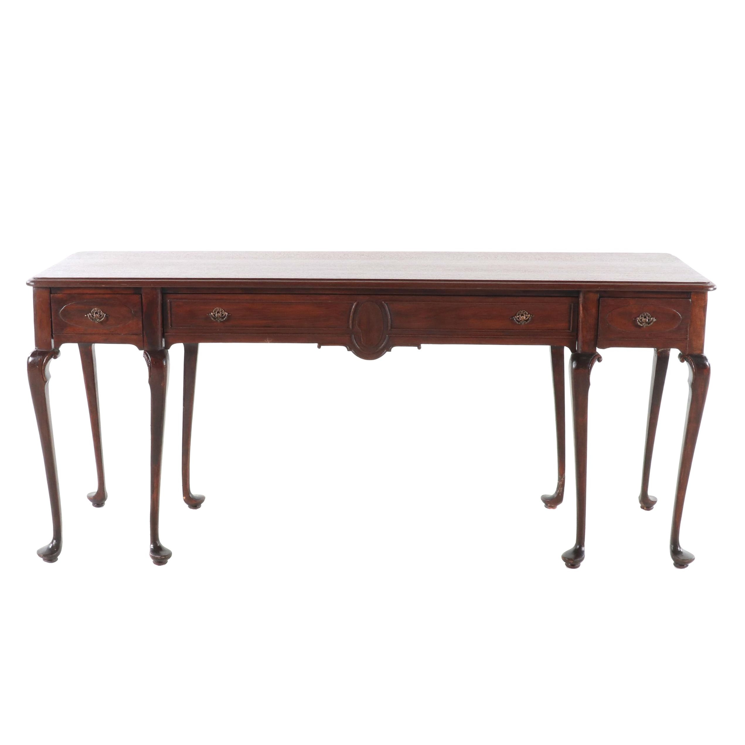 Queen Anne Style Walnut Sofa Table, First Half of the 20th Century