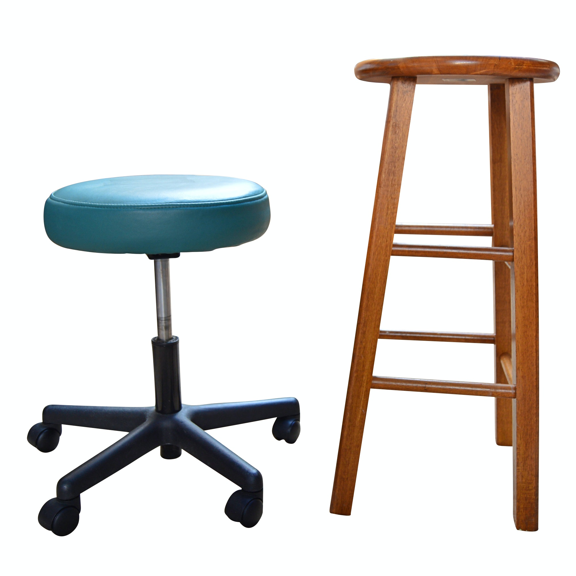 Oak Bar Stool and Vinyl Office Stool