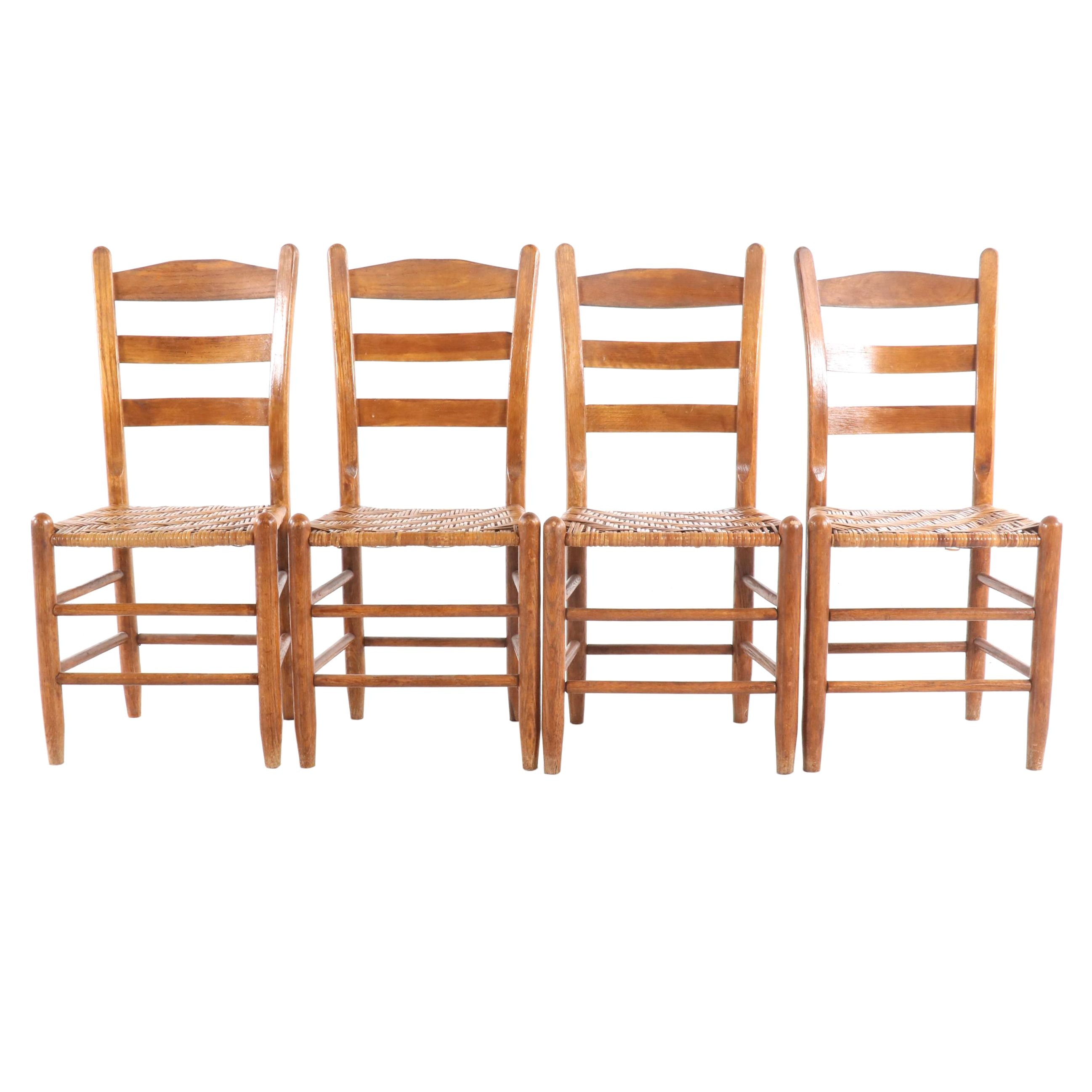 American Primitive Wooden Ladder Back Cane Seat Side Chairs, Mid 19th Century