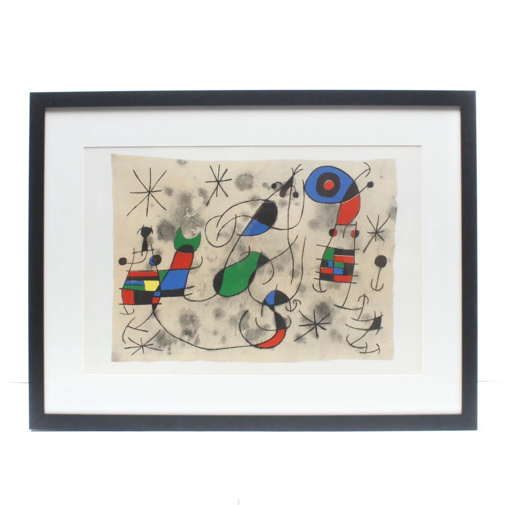"""Joan Miró Double Page Lithographic Print for """"Derrière le Miroir"""""""