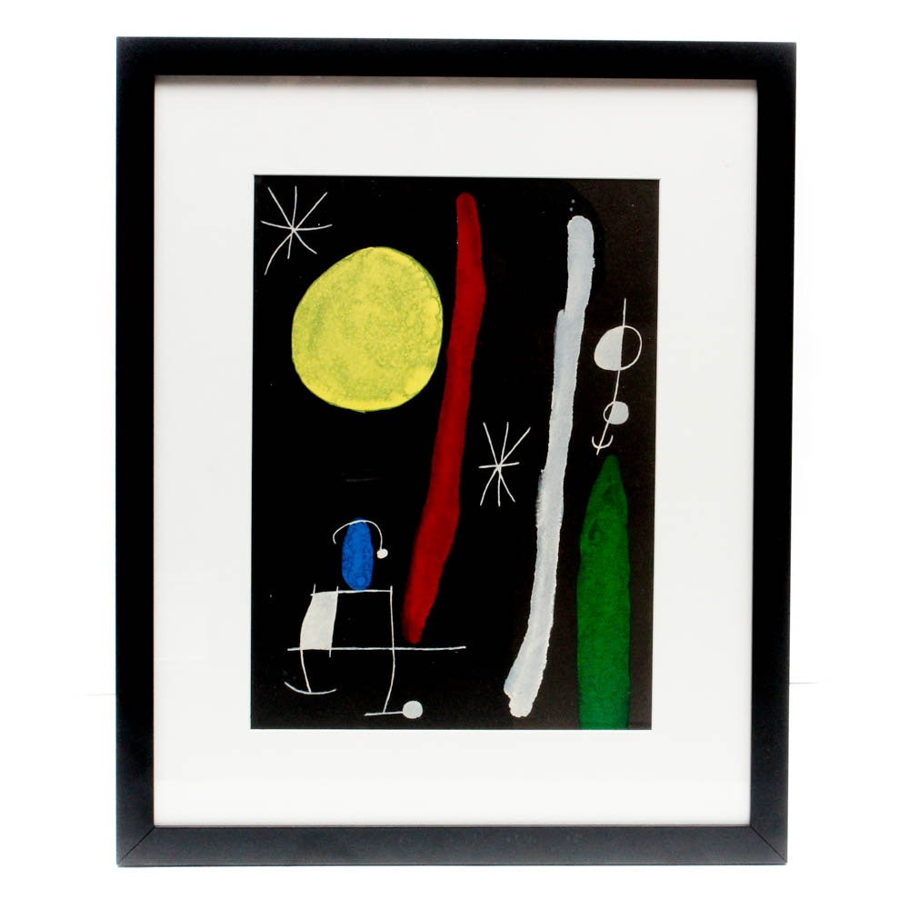 """Joan Miró Color Lithographic Print for """"Derrière le Miroir"""""""
