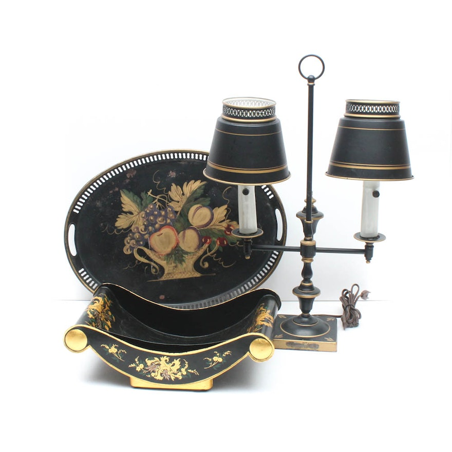 Vintage Toleware Featuring Double Arm Desk Lamp and Trays