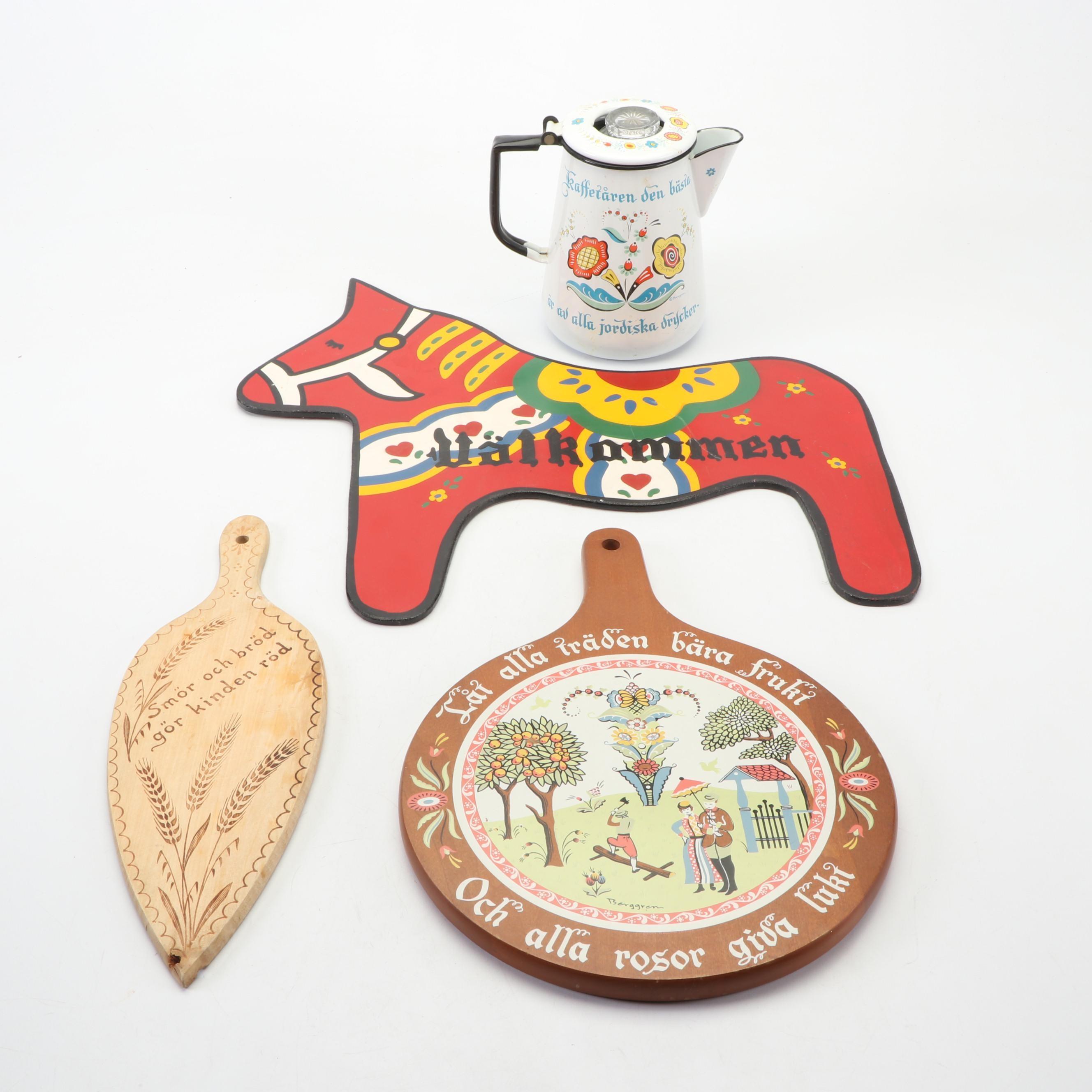Mid-Century Swedish Berggren Tin Coffee Pot and Wooden Kitchen Decor