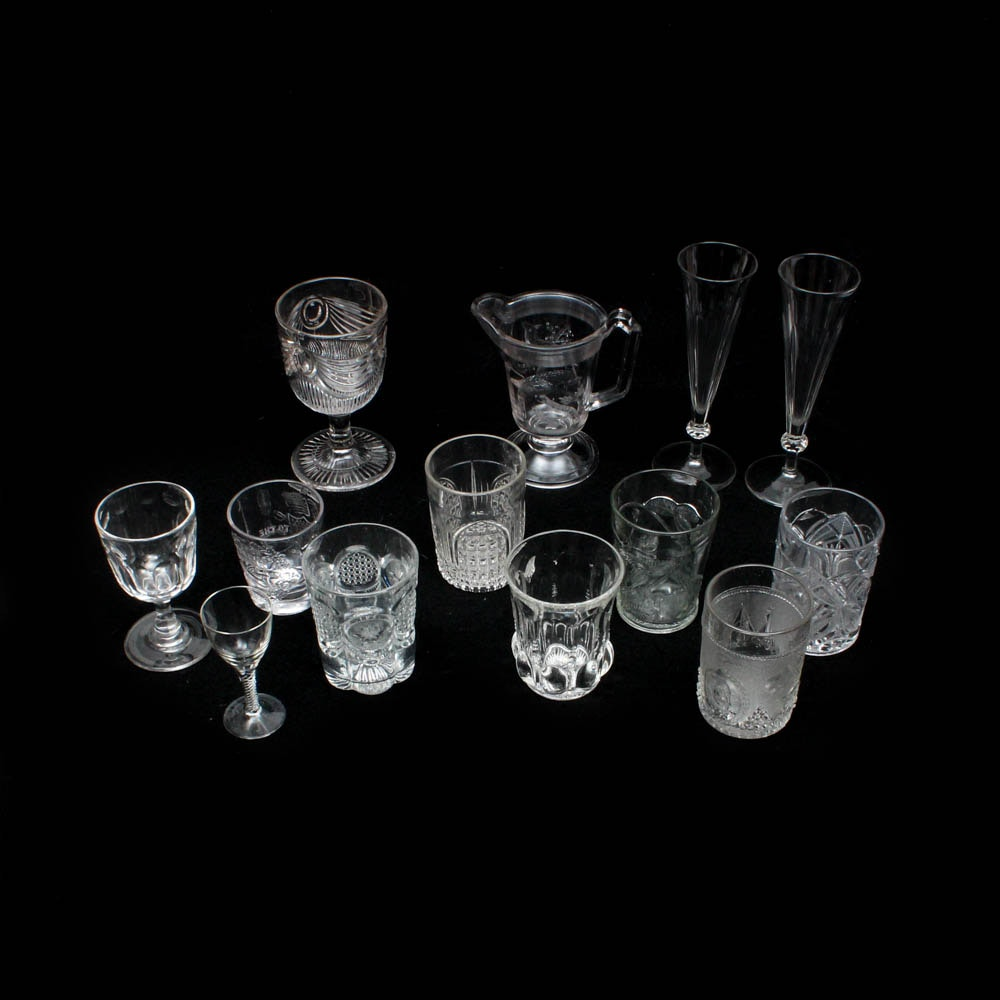 Pattern and Blown Glass Tumblers, Stemware, Flutes, Cordial and Pitcher