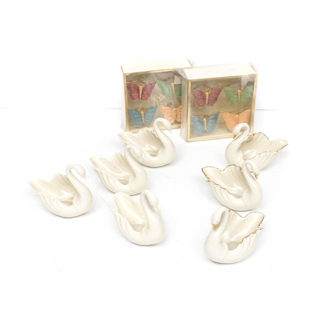 Lenox Ceramic Swan Bowls and Metal Butterfly Napkin Rings