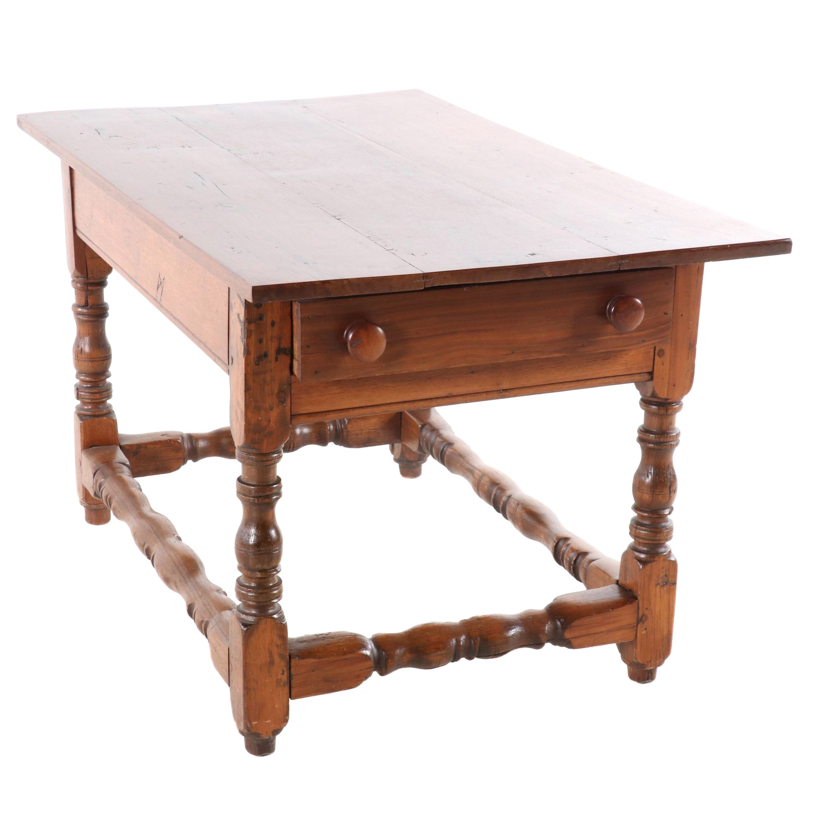 William and Mary Style Walnut Tavern Table, Mid 19th Century