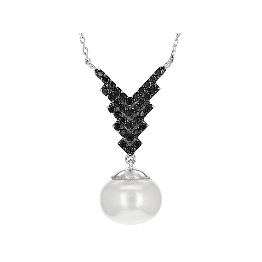 Sterling Silver Cultured Pearl and Spinel Necklace
