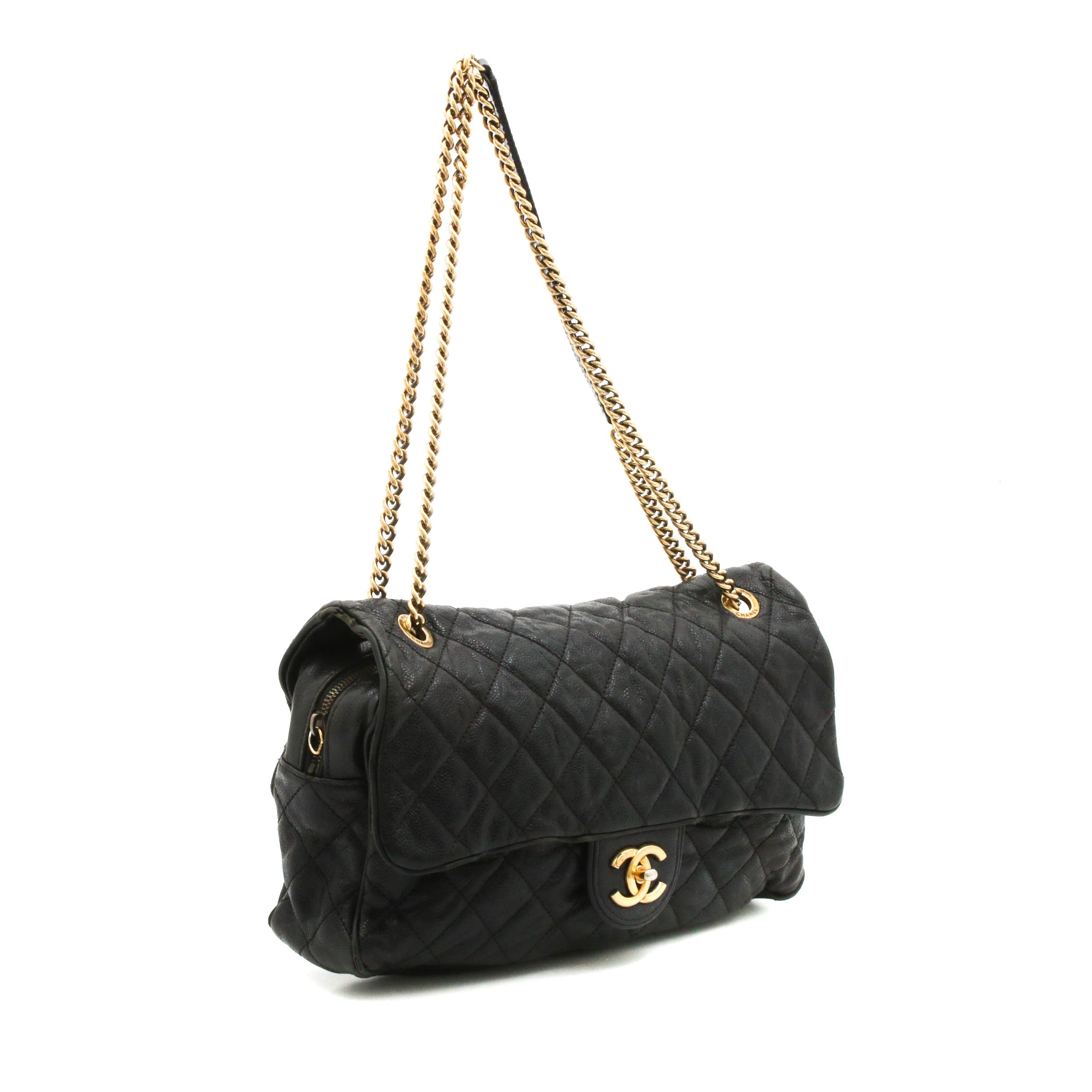 Chanel Quilted Black Caviar Leather Jumbo Flap Chain Strap Shoulder Bag