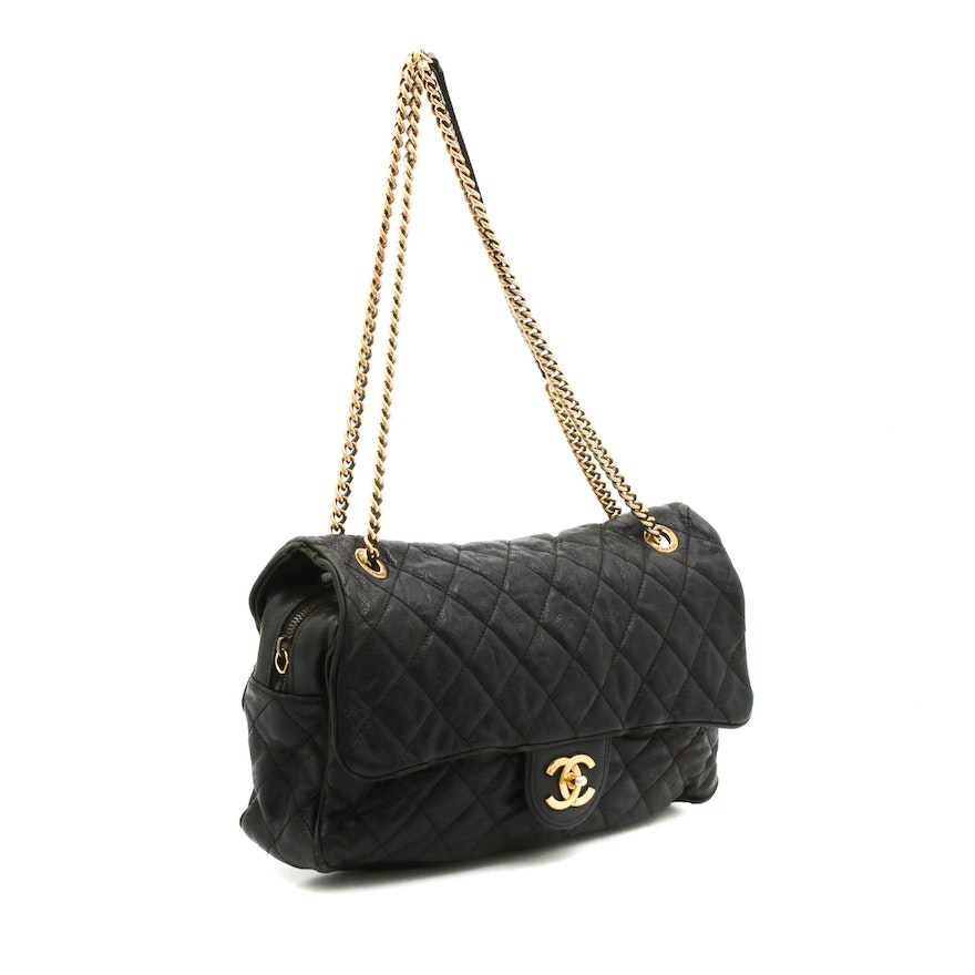 f7dbedd2c76e Chanel Quilted Black Caviar Leather Jumbo Flap Chain Strap Shoulder Bag ...