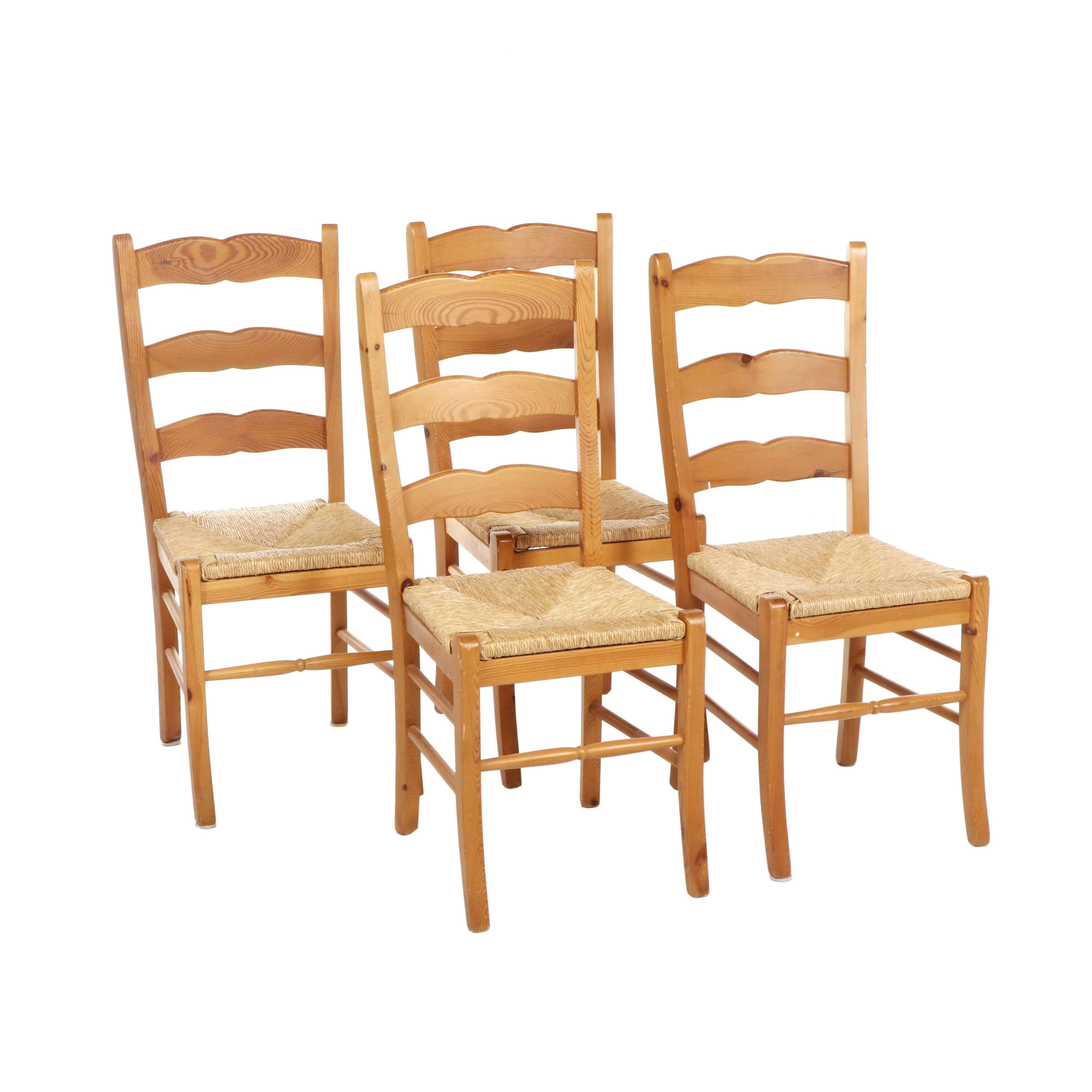 Four Oak Ladder Back Kitchen Chairs with Rush Seat