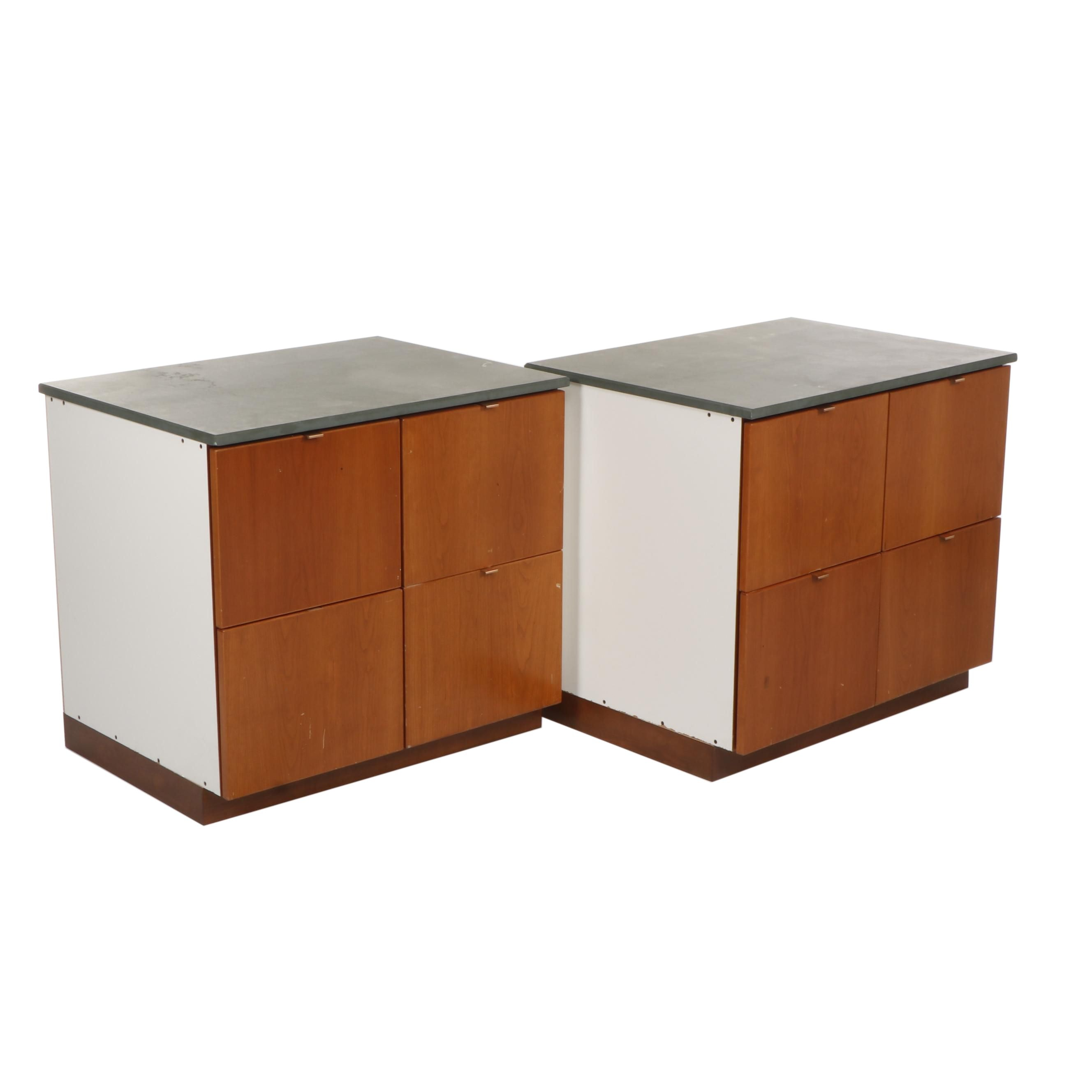 Pair of Contemporary Filing Cabinet Drawers with Stone Top