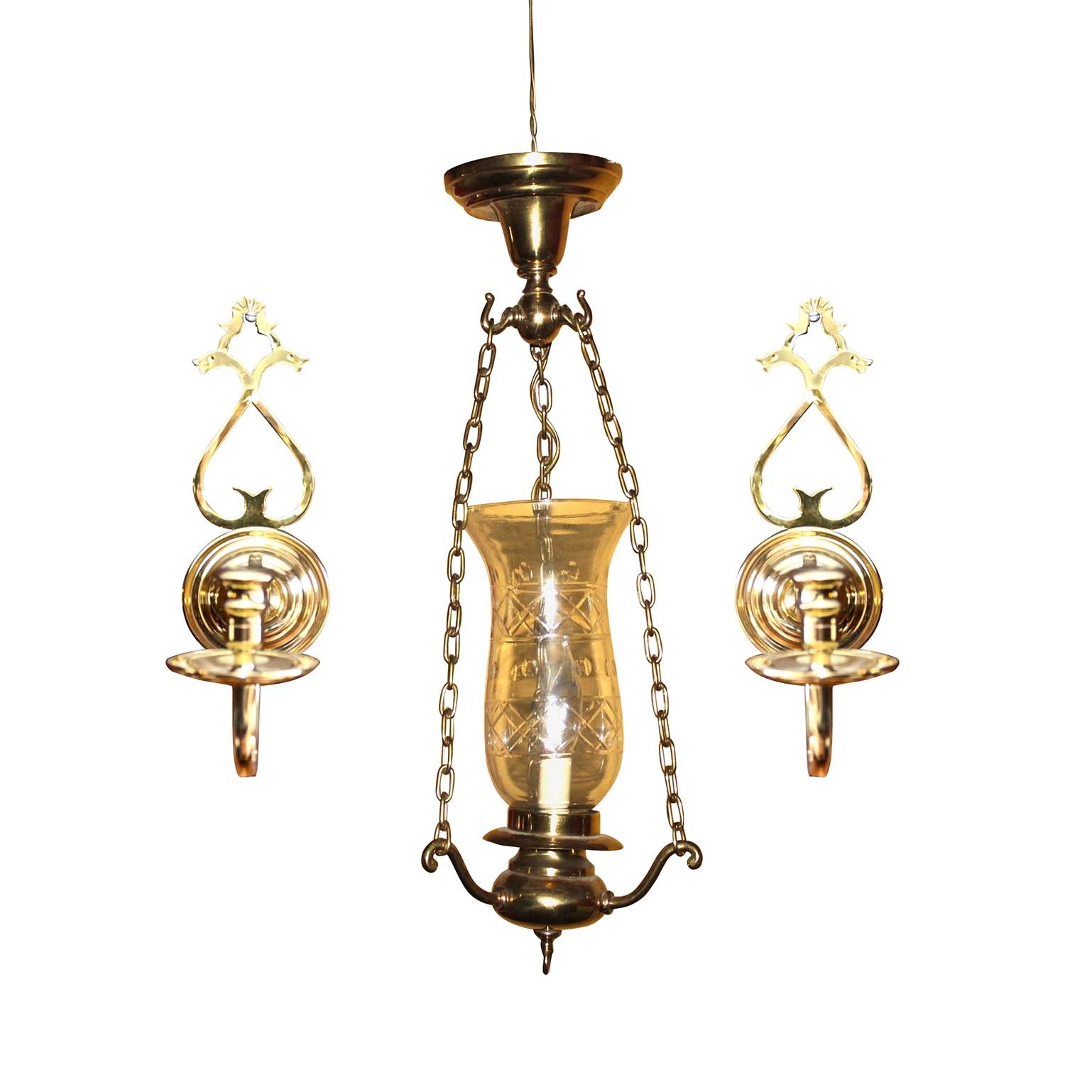 Brass Pendant Light with Cut Glass Shade and Brass Candle Sconces