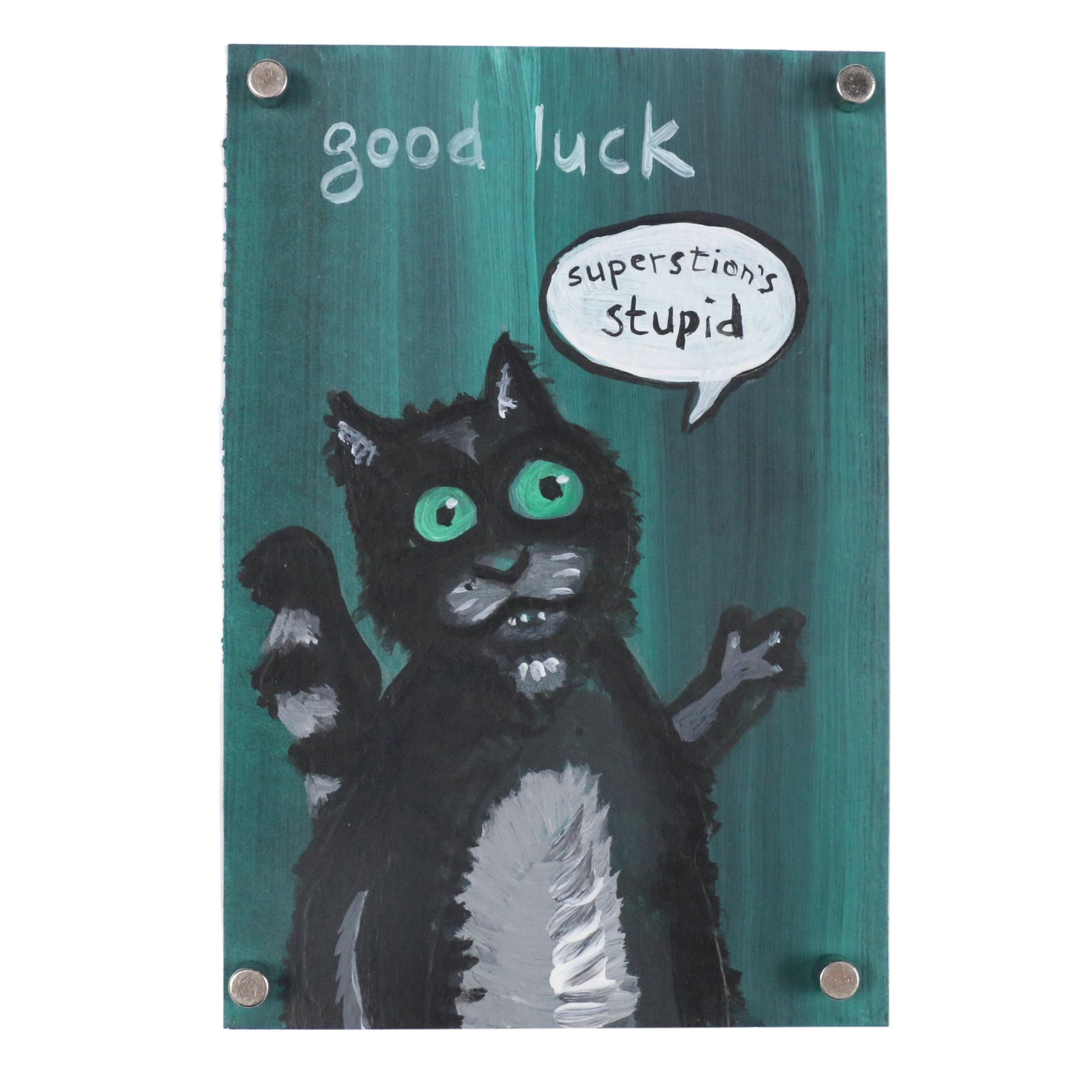 "N. Scott Carroll Outsider Art Acrylic Painting ""Good Luck"""