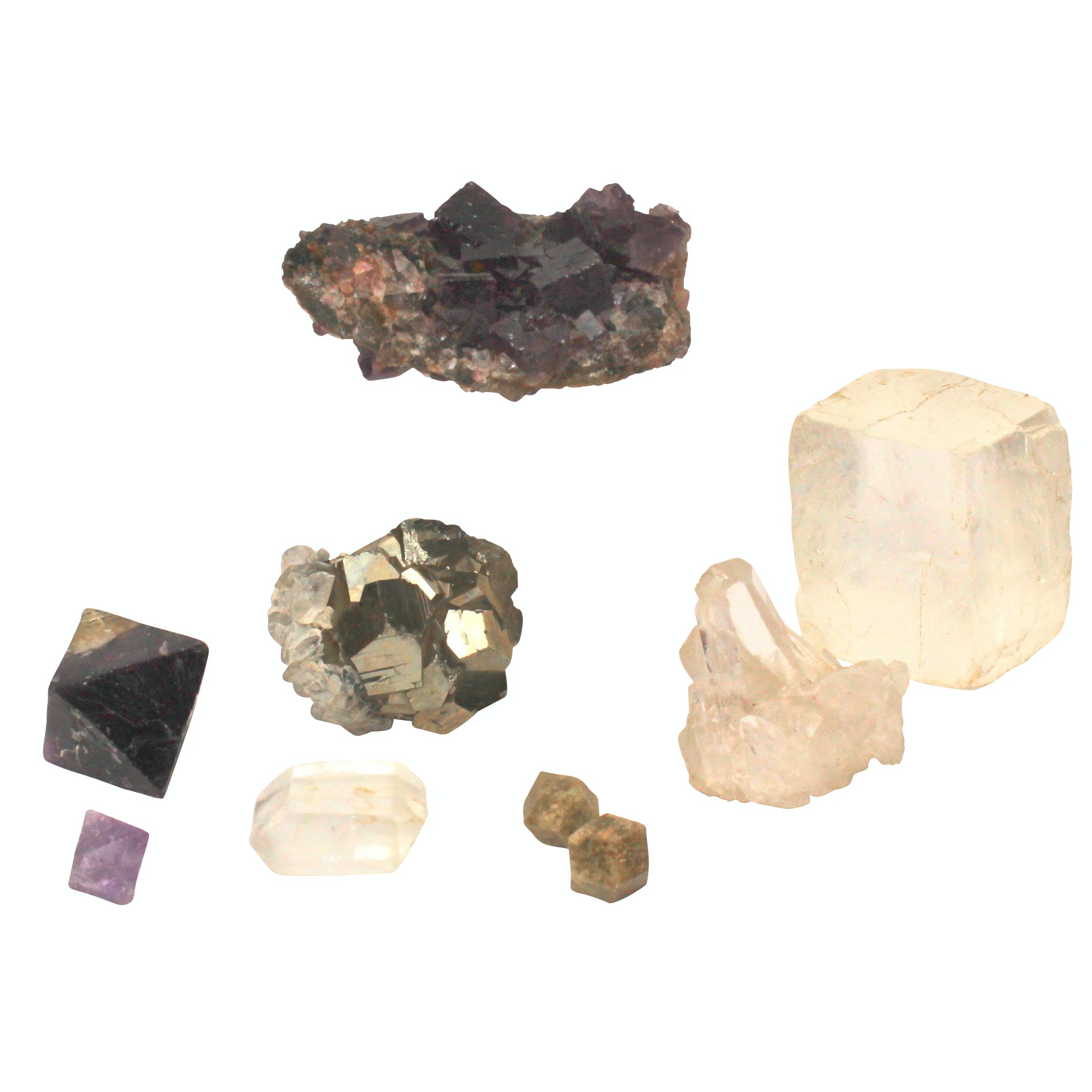 Natural Stone Collection Including Amethyst and Quartz Crystal