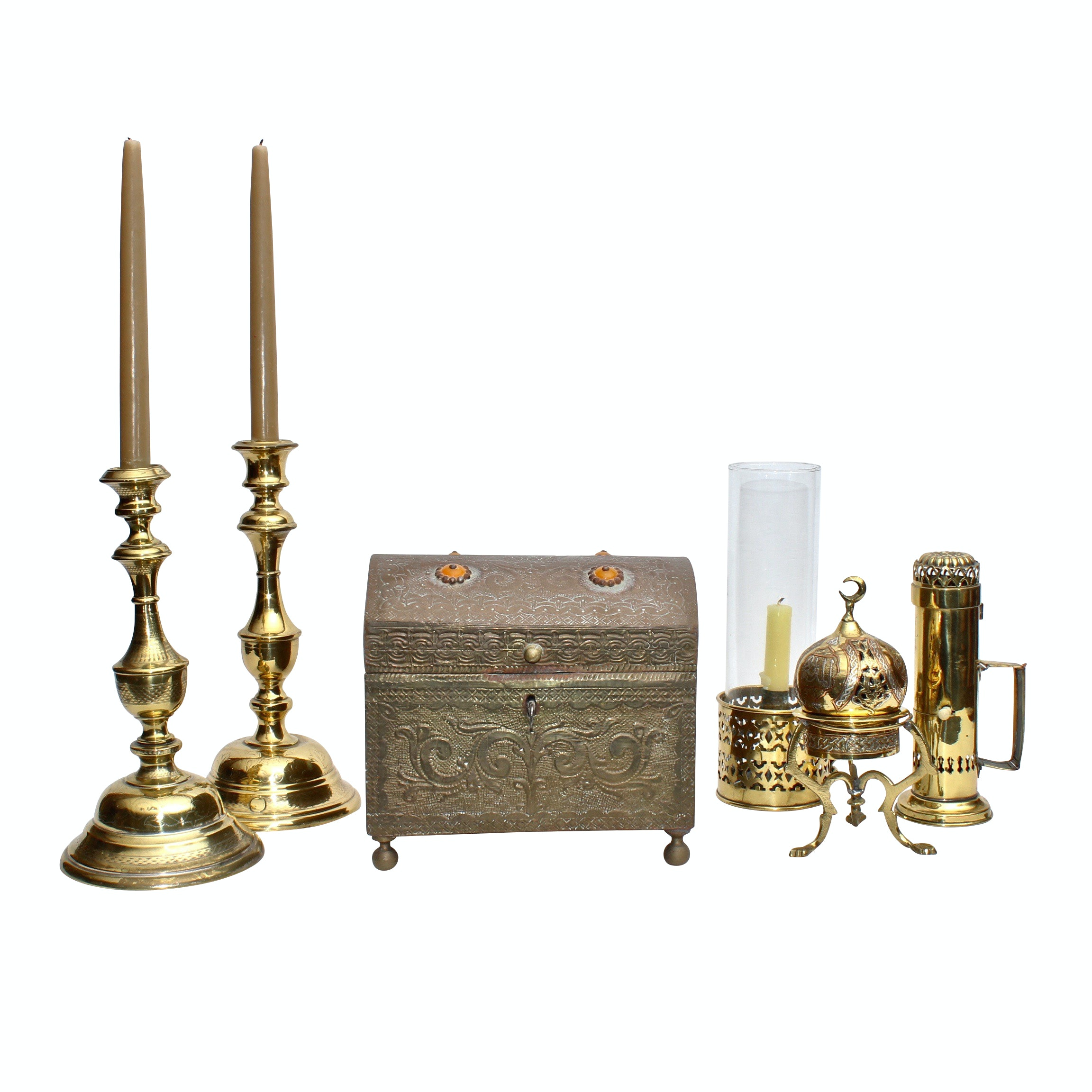 Brass Candlesticks and Candle Lantern with Trinket Box and Decor