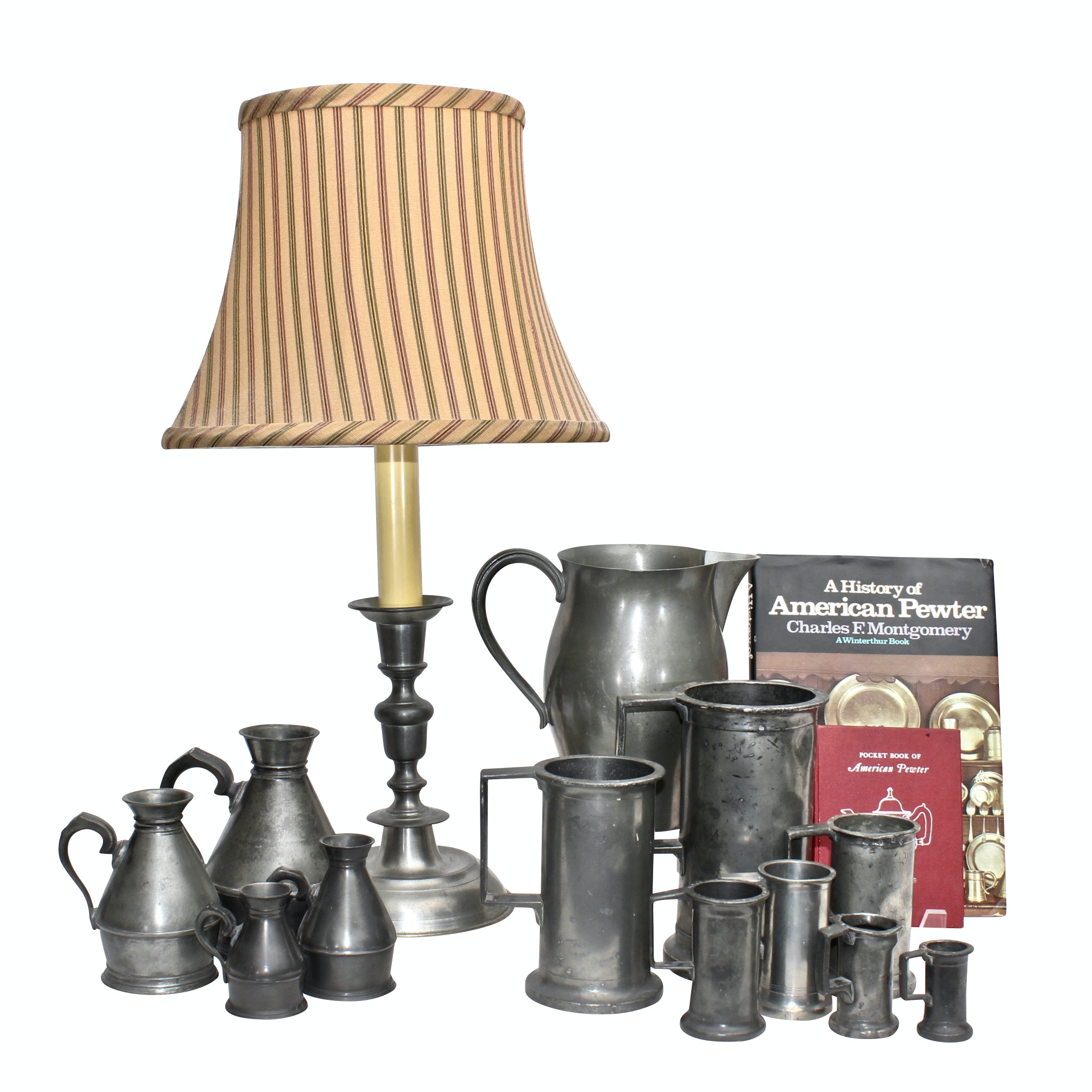 Pewter Tableware Collection, Woodbury Pewterers Table Lamp and Collector's Books