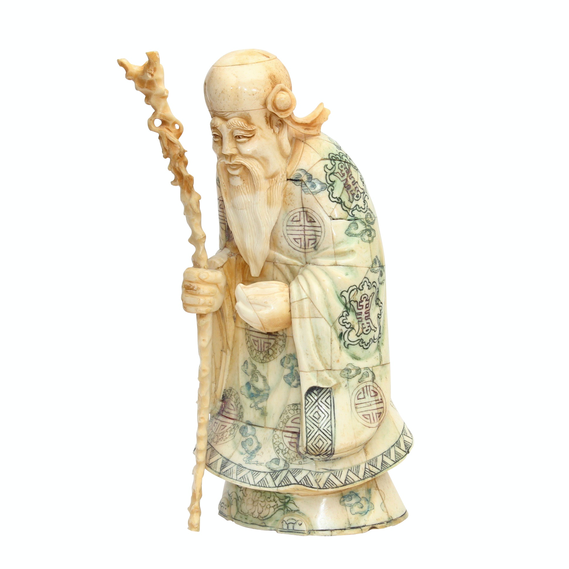Chinese Carved Tessellated Bone God of Longevity Figurine, Late 20th Century