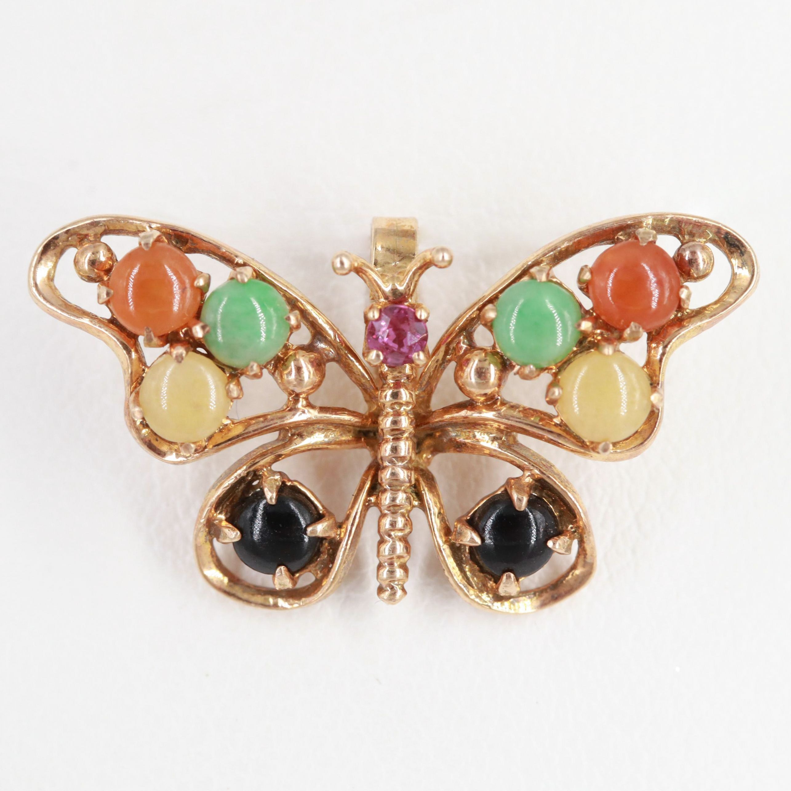 14K Yellow Gold Jadeite, Ruby, and Black Onyx Butterfly Pendant
