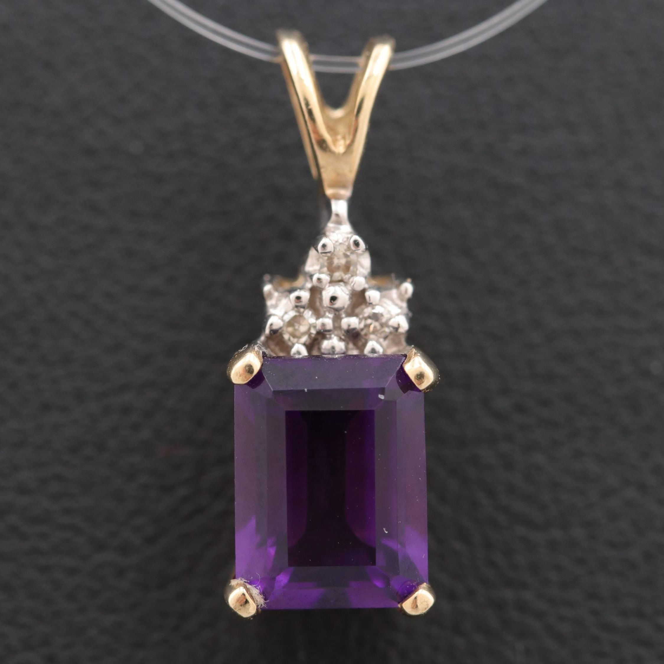 Alwand Vahan 10K Yellow Gold Amethyst and Diamond Pendant