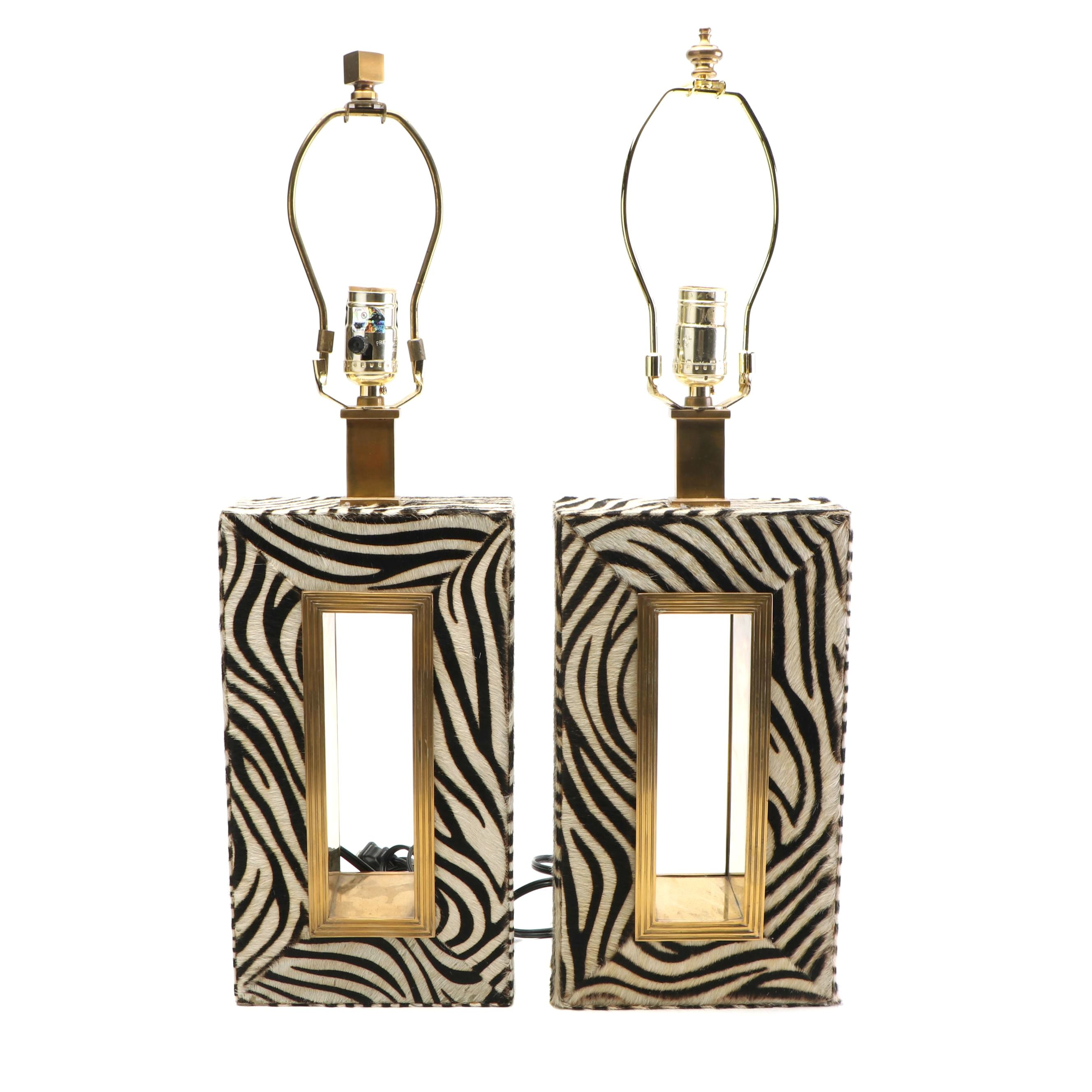 Brass and Zebra Print Pony Hair Table Lamps, Mid to Late 20th Century
