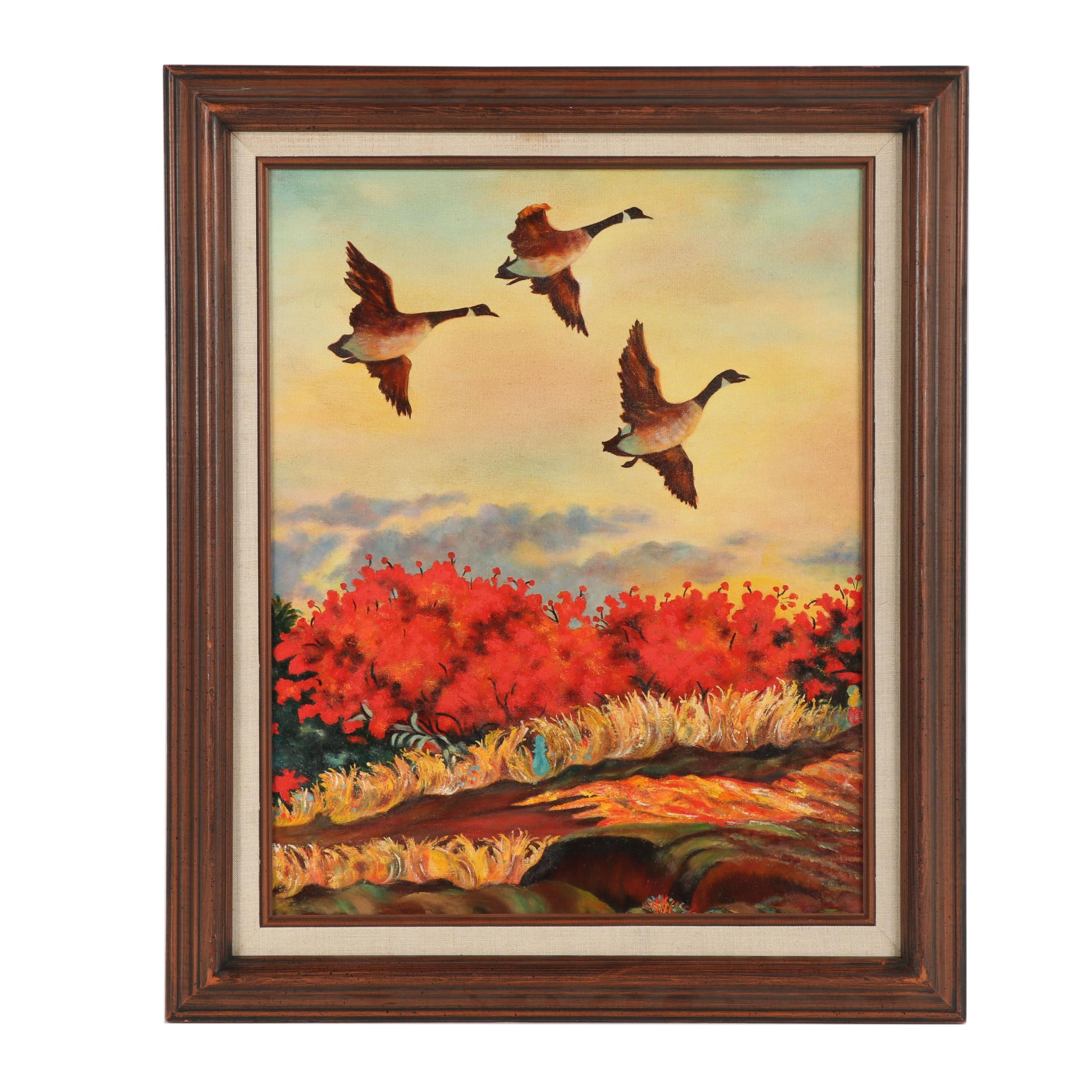 Late 20th Century Autumn Landscape with Canadian Geese Oil Painting
