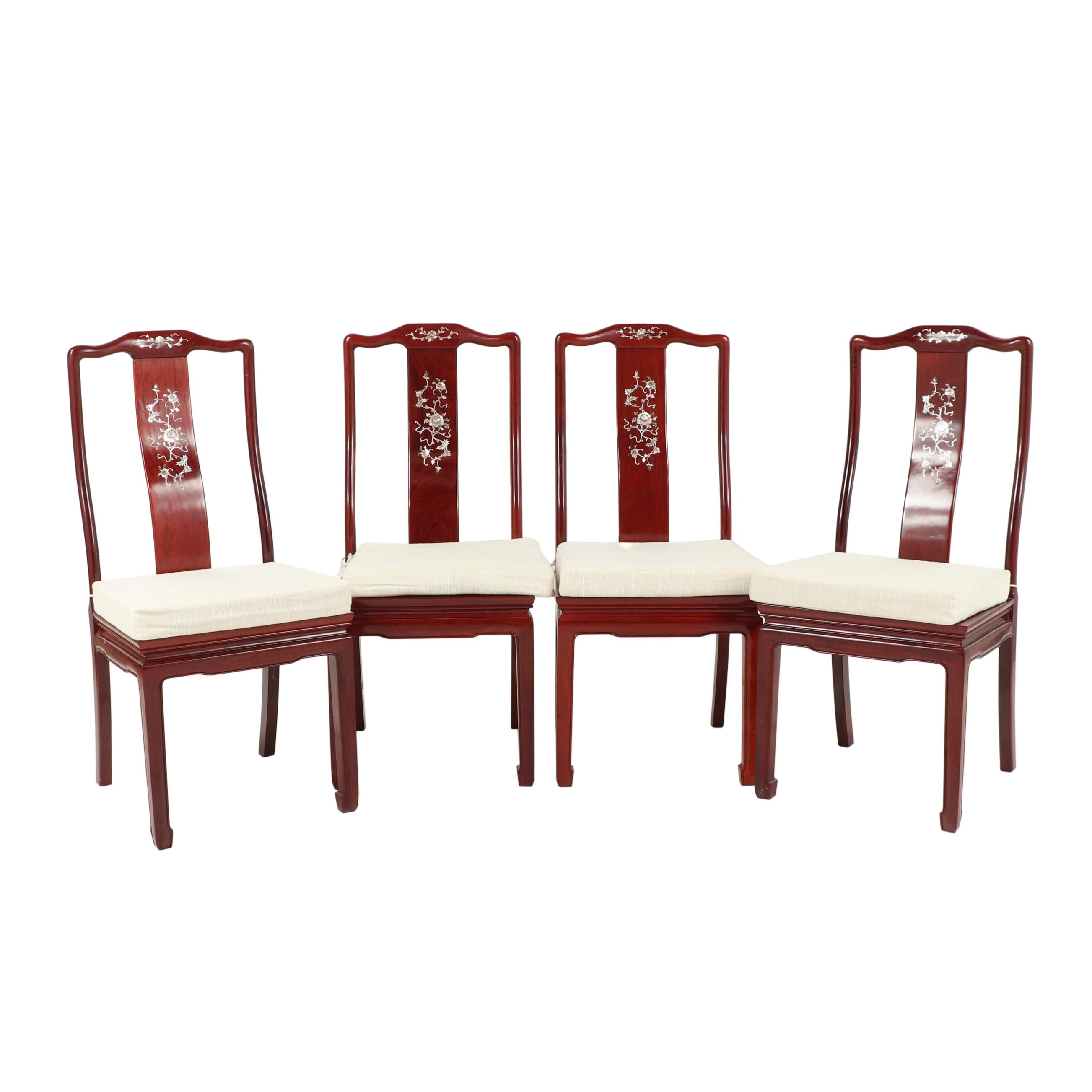 Chinese Wooden Dining Chairs with Floral Inlay, Set of Four