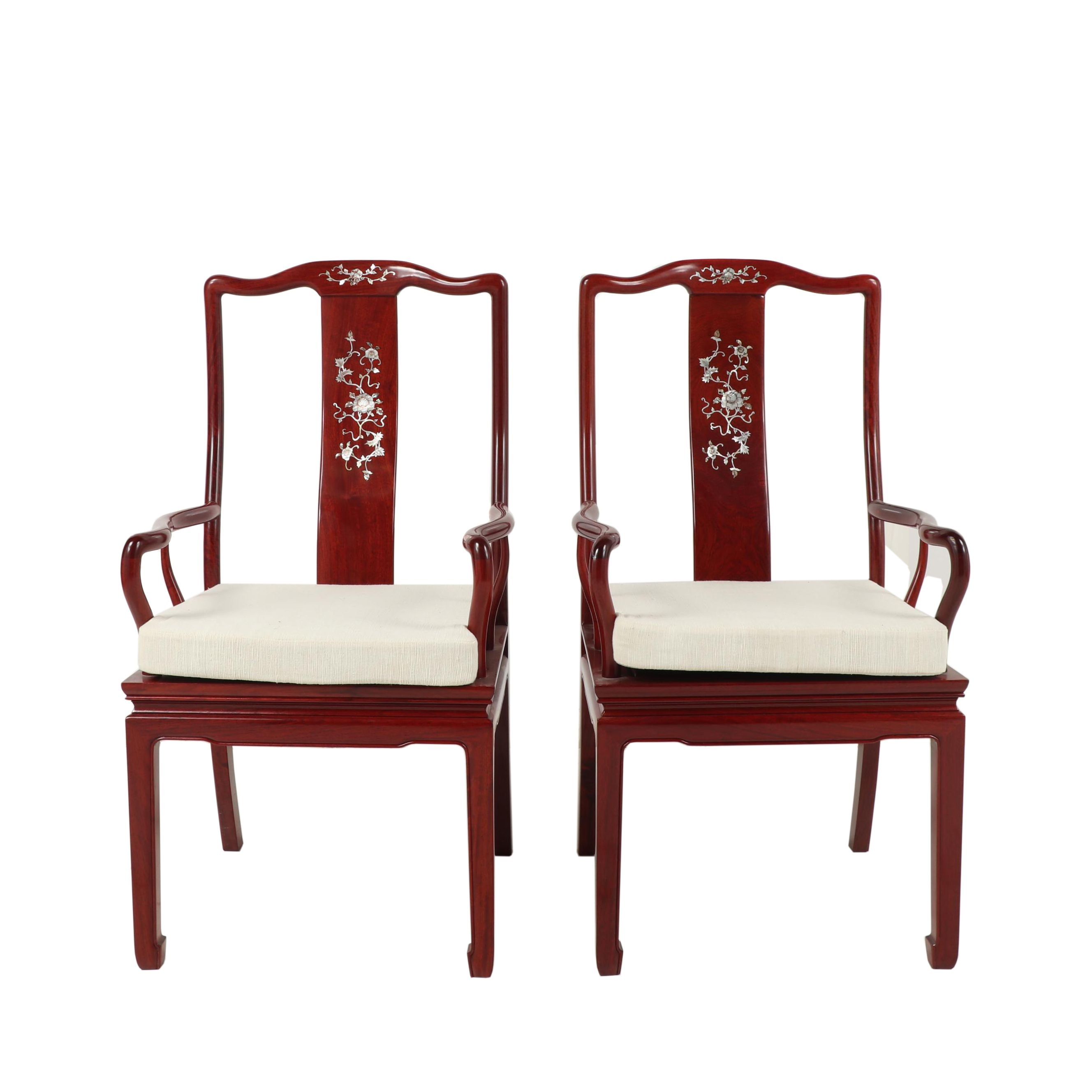 Pair of Chinese Wooden Dining Armchairs with Floral Inlay