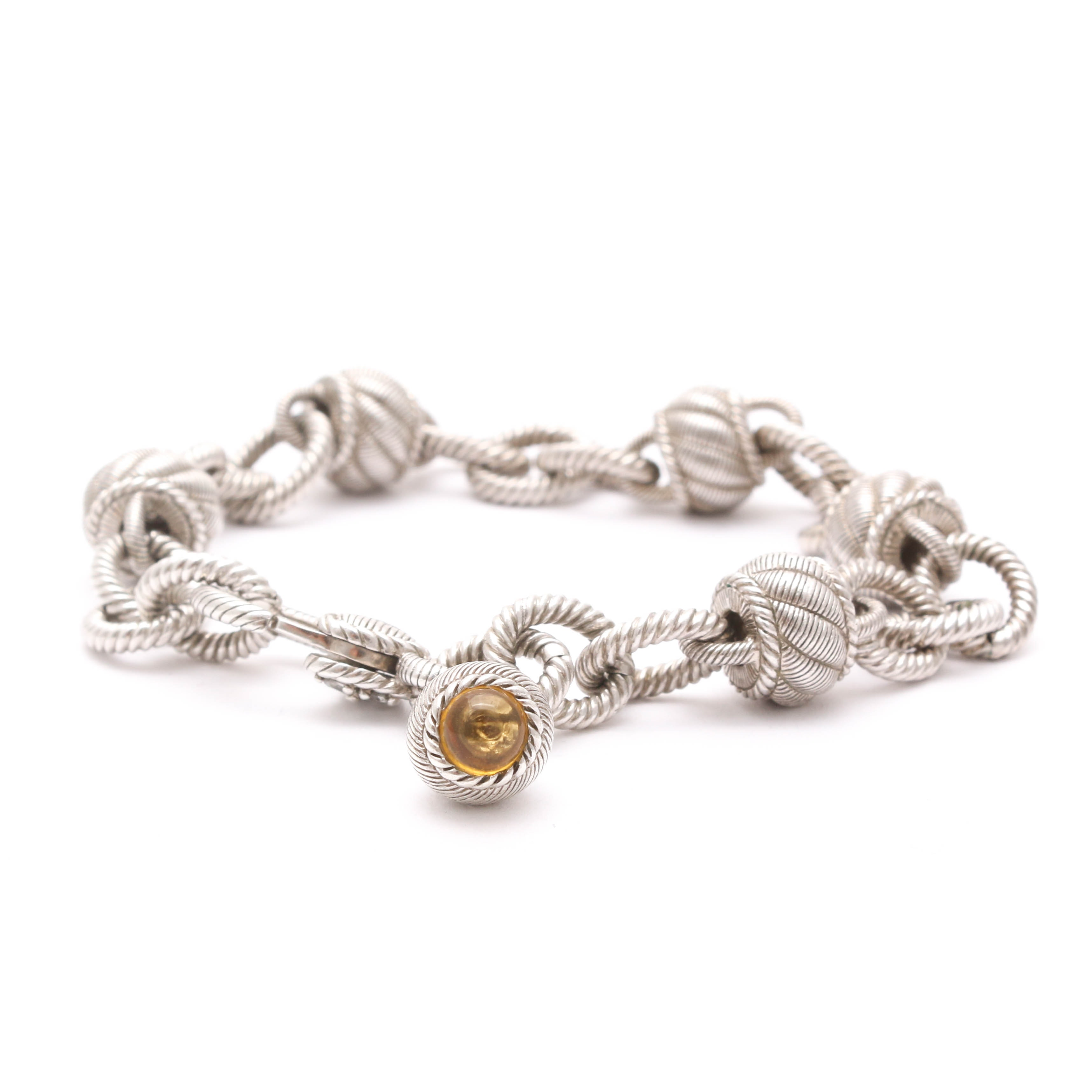 Tooled Sterling Silver Bracelet with Glass Accents
