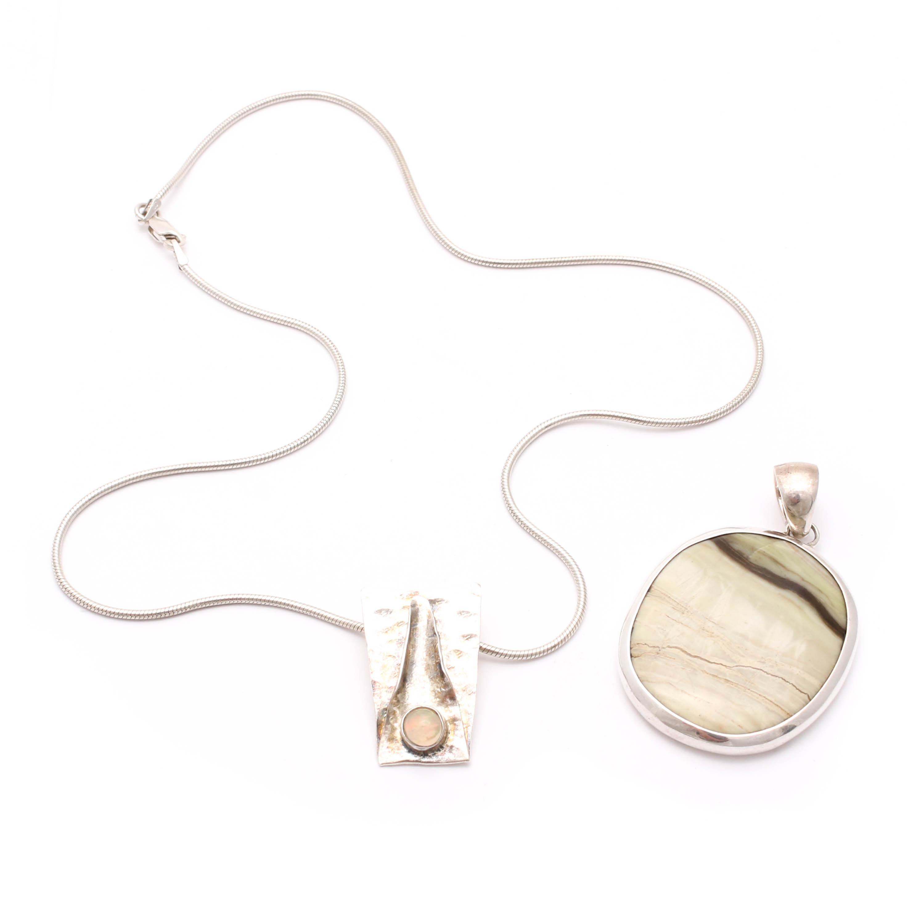 Sterling Silver Opal Necklace and Agate Pendant